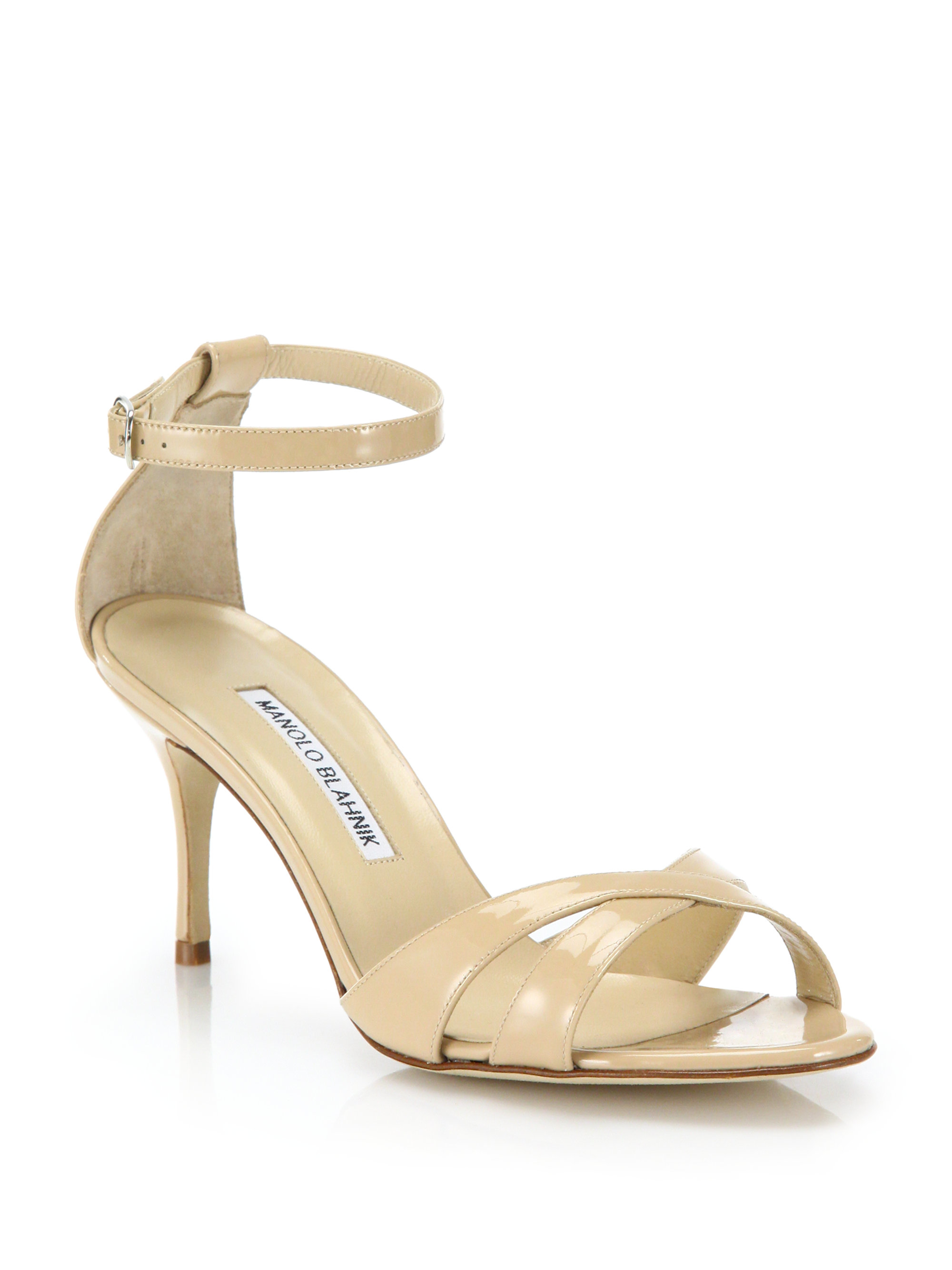 a34cfe28643 Lyst - Manolo Blahnik Patent Leather Mid-heel Crisscross Sandals in ...