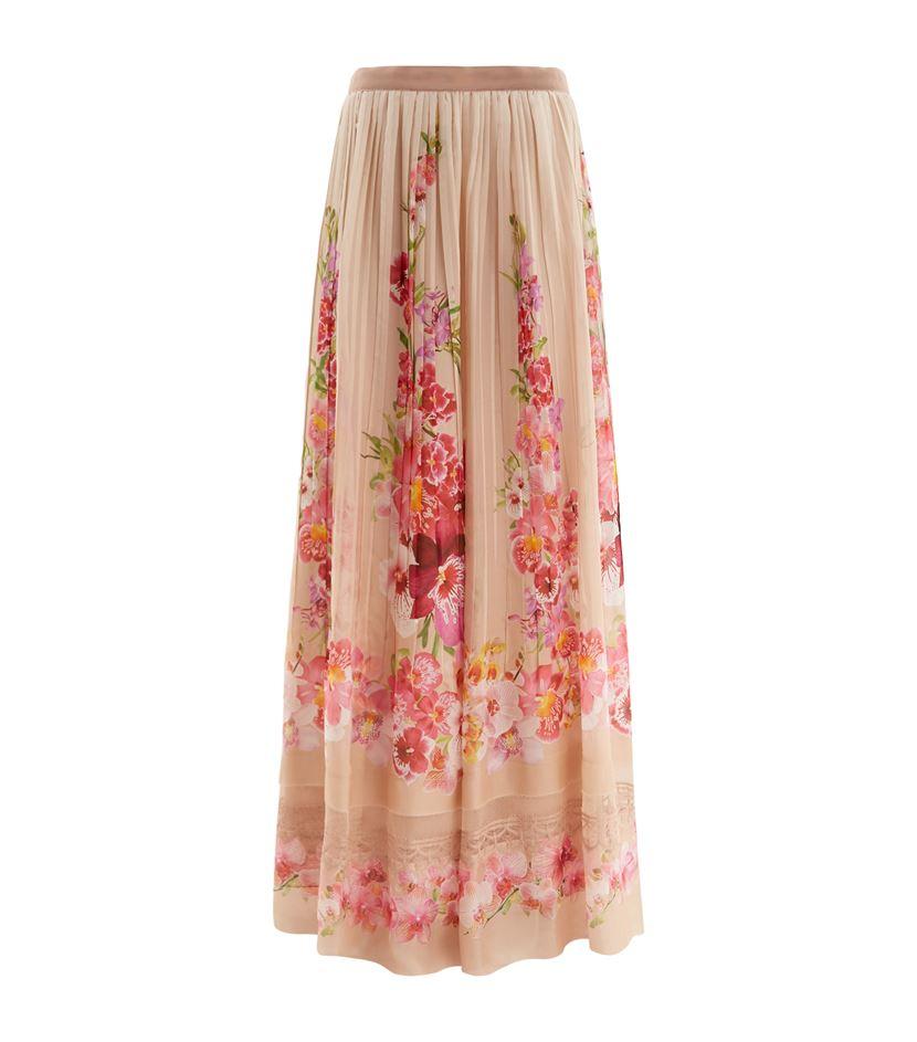Alberta ferretti Pleated Floral Silk Maxi Skirt | Lyst