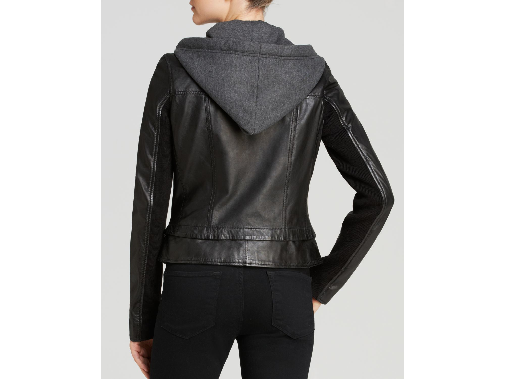 Lyst Marc New York Mila Hooded Leather Jacket In Black