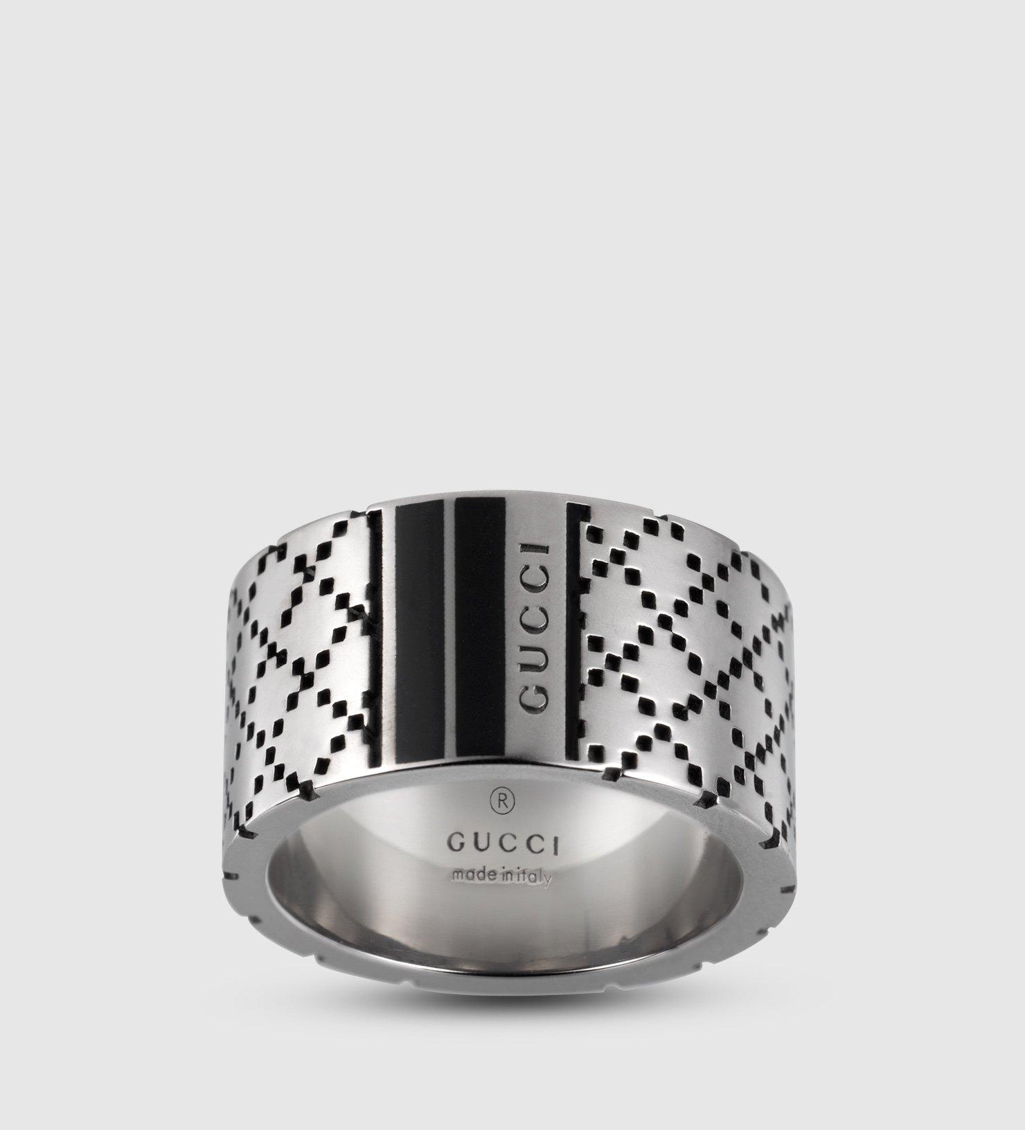 fd7690e8e1f8b Lyst - Gucci Diamantissima Wide Ring In Sterling Silver in Metallic ...