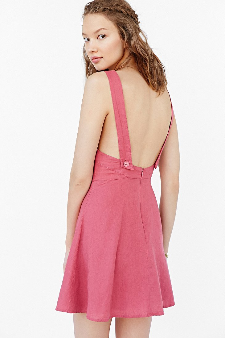 Lyst Kimchi Blue Bethany Linen Apron Dress In Pink