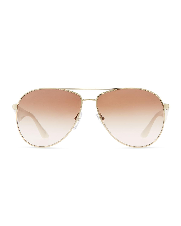 4a8765dd8a428 Prada Double Bar Aviator Sunglasses in White - Lyst
