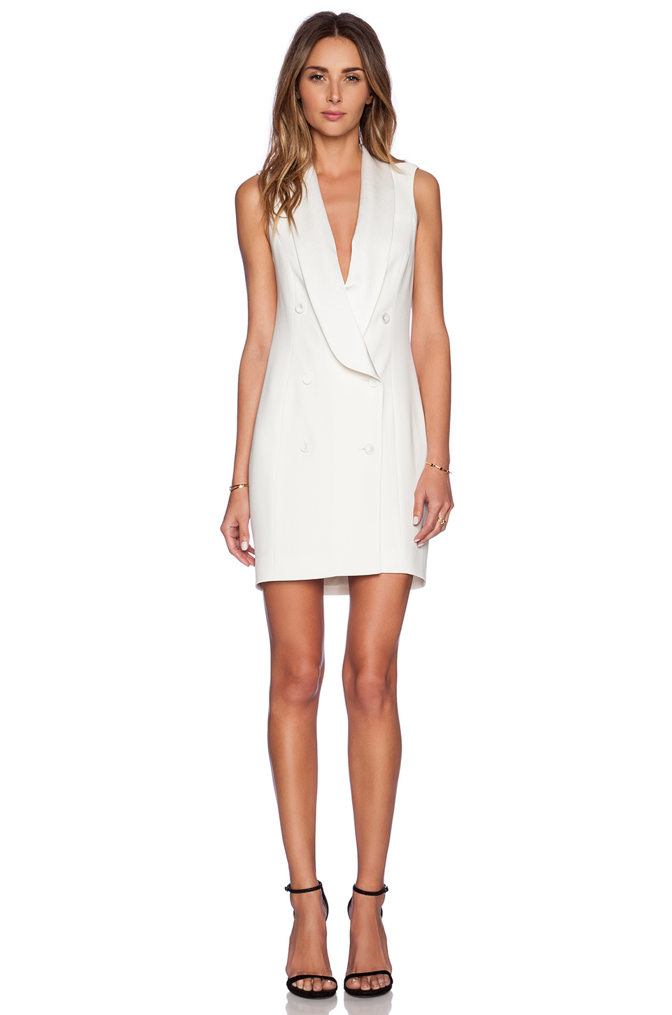 Haute hippie short sleeve tux dress in white swan lyst for To have and to haute dress