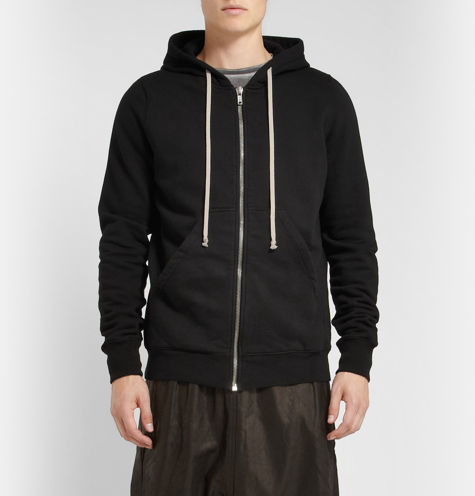 Hooded cotton-jersey sweatshirt Rick Owens Discount Get To Buy EP45Ua0o4X