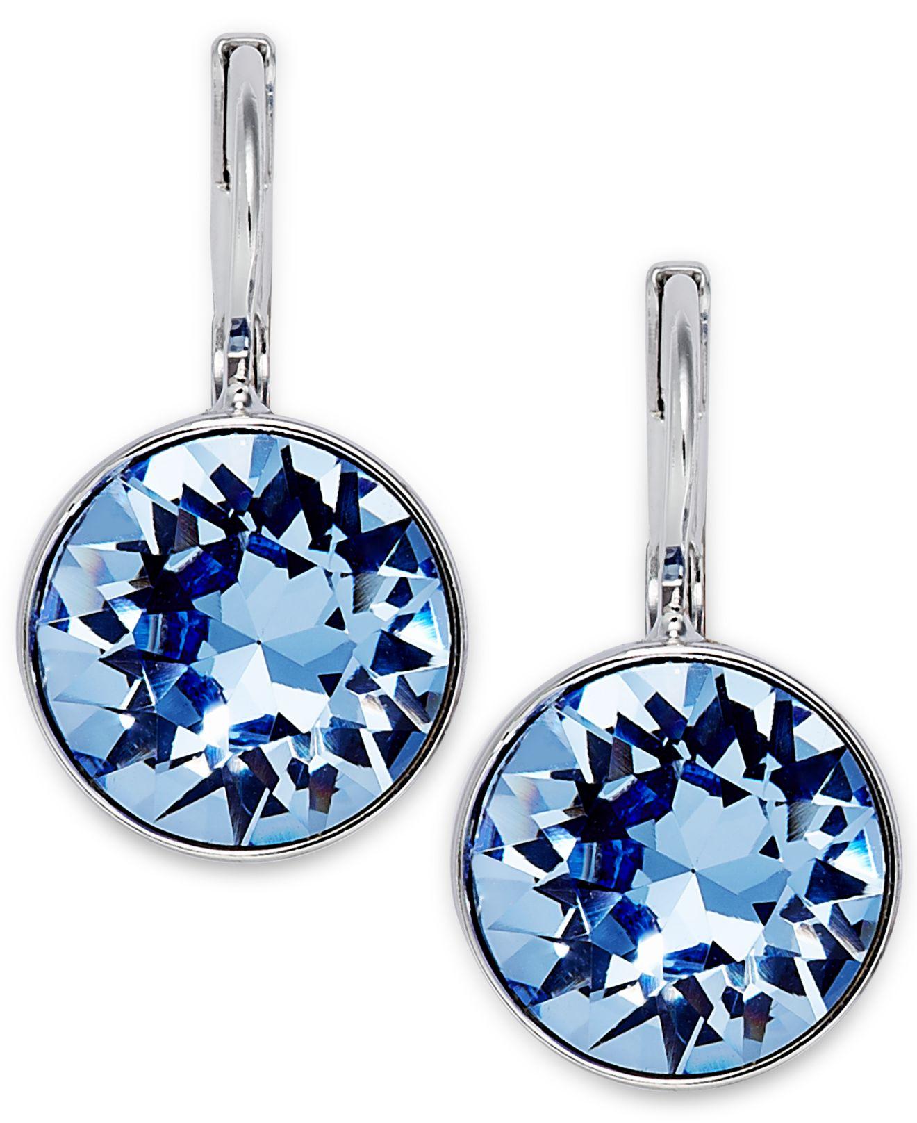 c5f6bfa98 Swarovski Rhodium-Plated Light Sapphire Crystal Drop Earrings in ...
