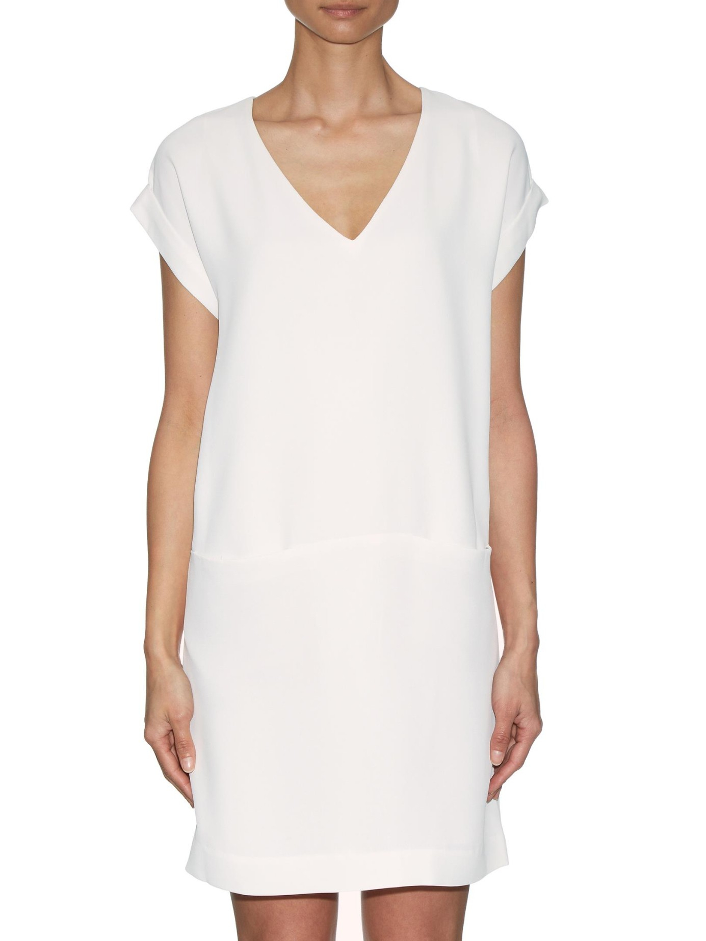 Vince piqu t shirt dress in white lyst for Vince tee shirts sale
