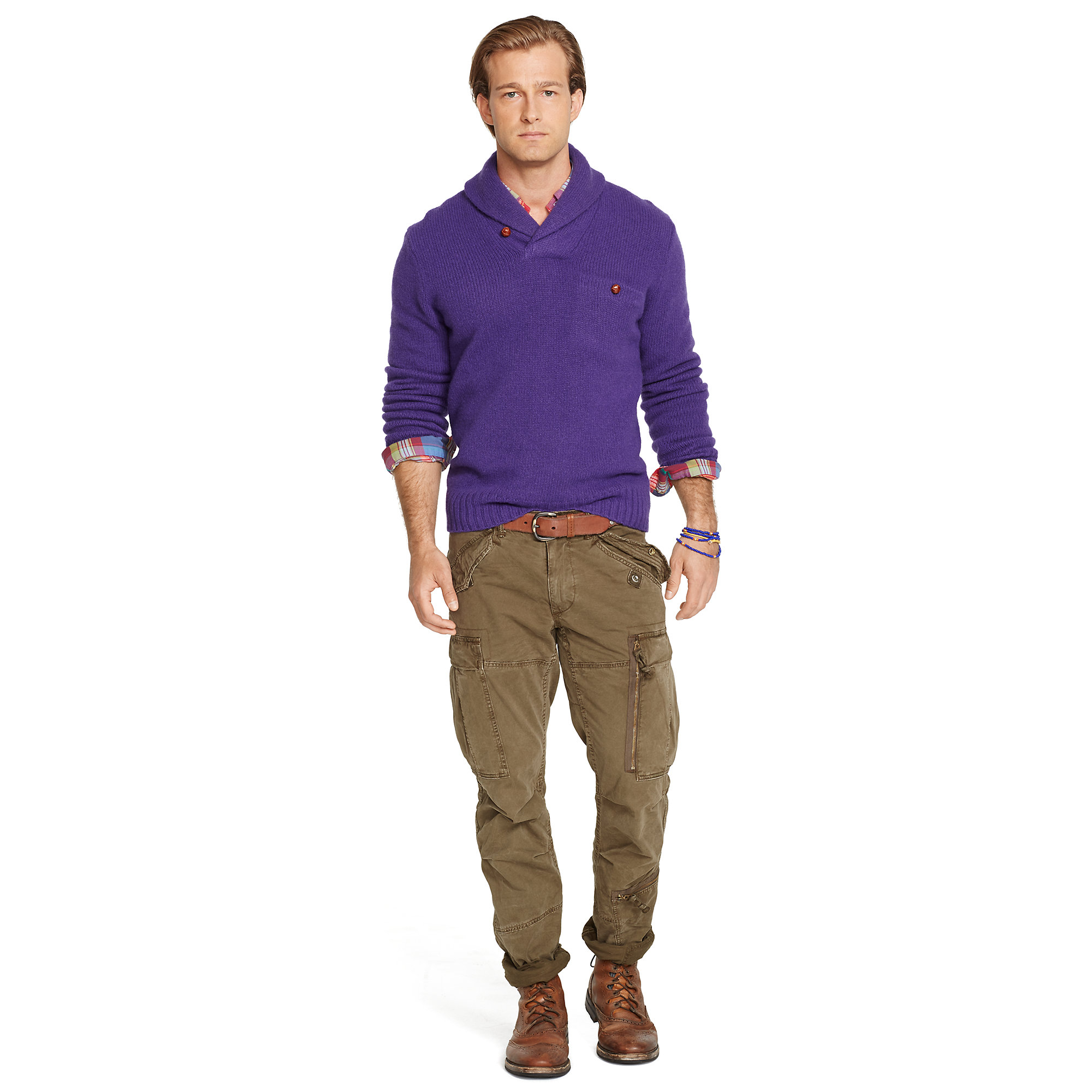 lyst polo ralph lauren shawl pullover sweater in purple for men. Black Bedroom Furniture Sets. Home Design Ideas