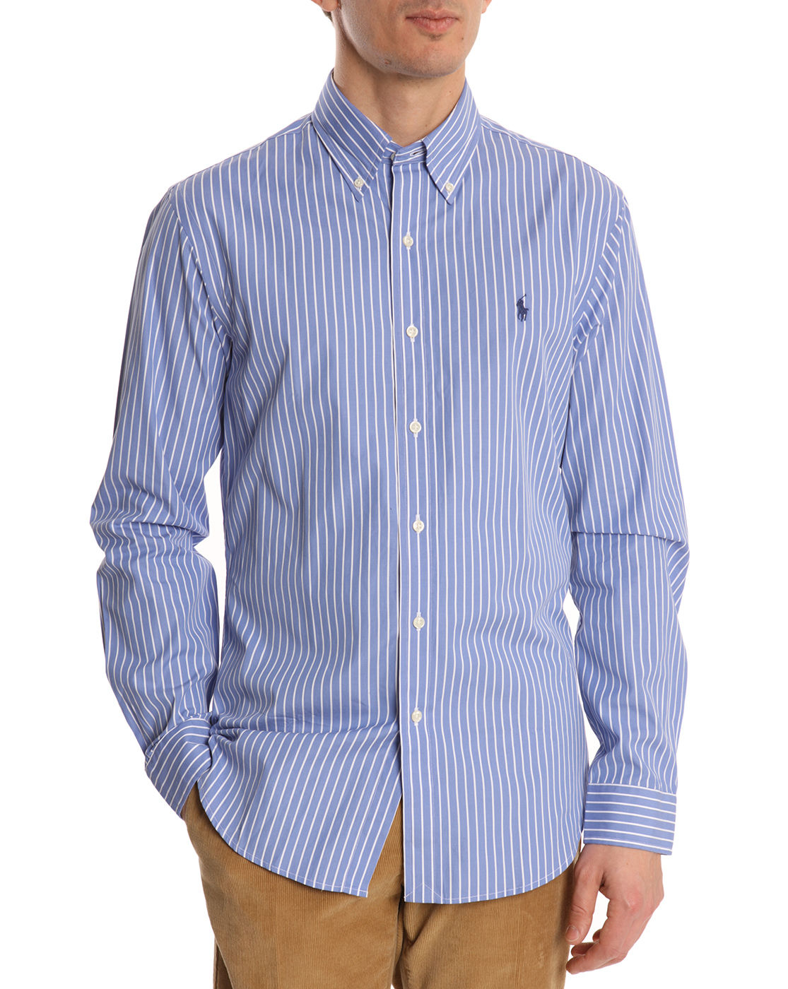 Polo ralph lauren blue and white striped shirt in blue for for Blue and white shirt mens