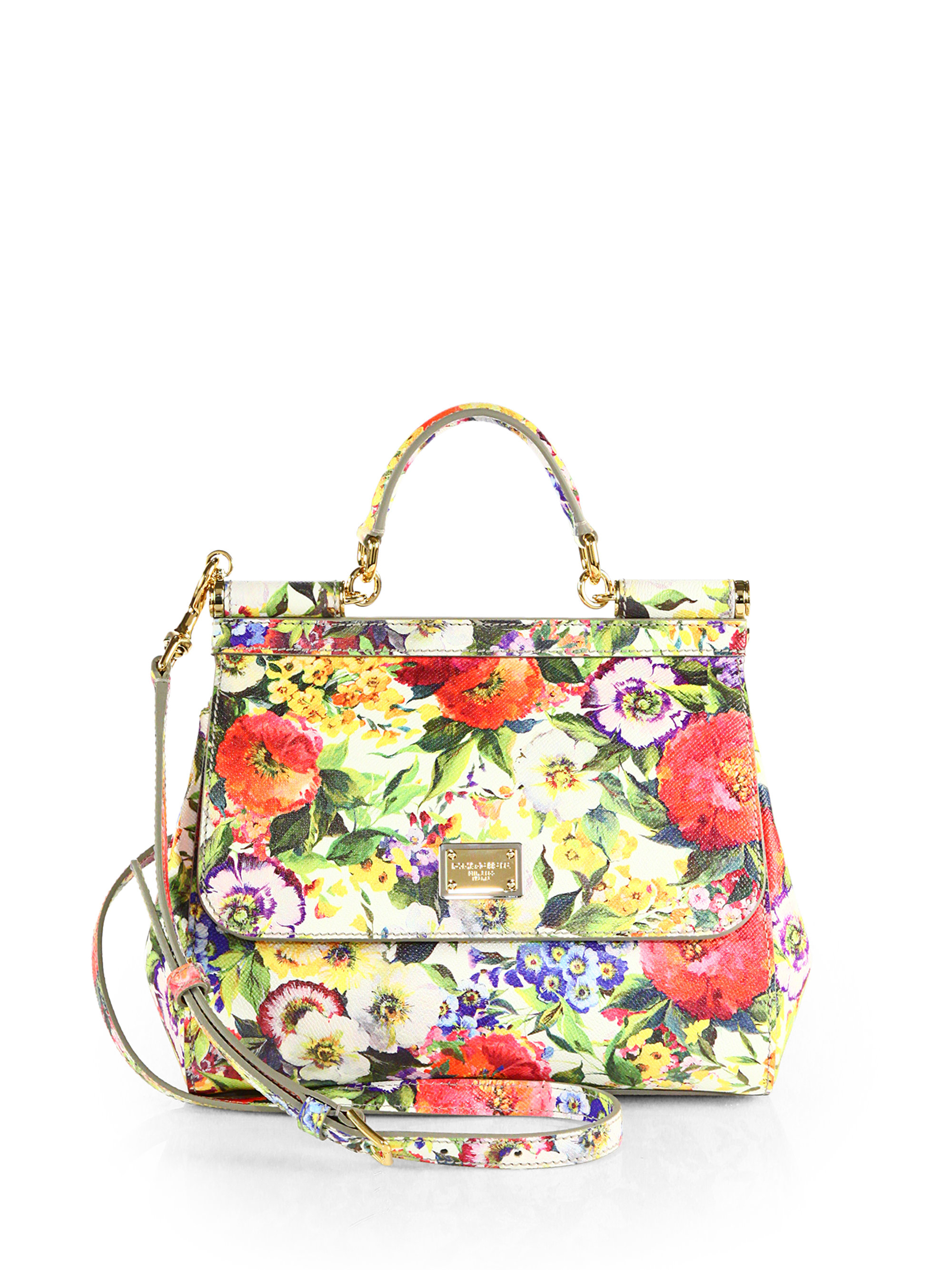 6132f7003ce6 Lyst - Dolce   Gabbana Miss Sicily Floral Leather Bag