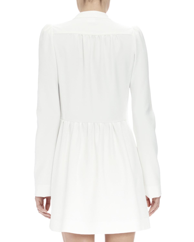 fda1b9f674 Chloé Long-sleeve Asymmetric Button-front Dress in White - Lyst