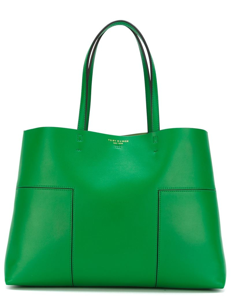 252ccc84420 Lyst - Tory Burch Tote With Interior Pouch in Green