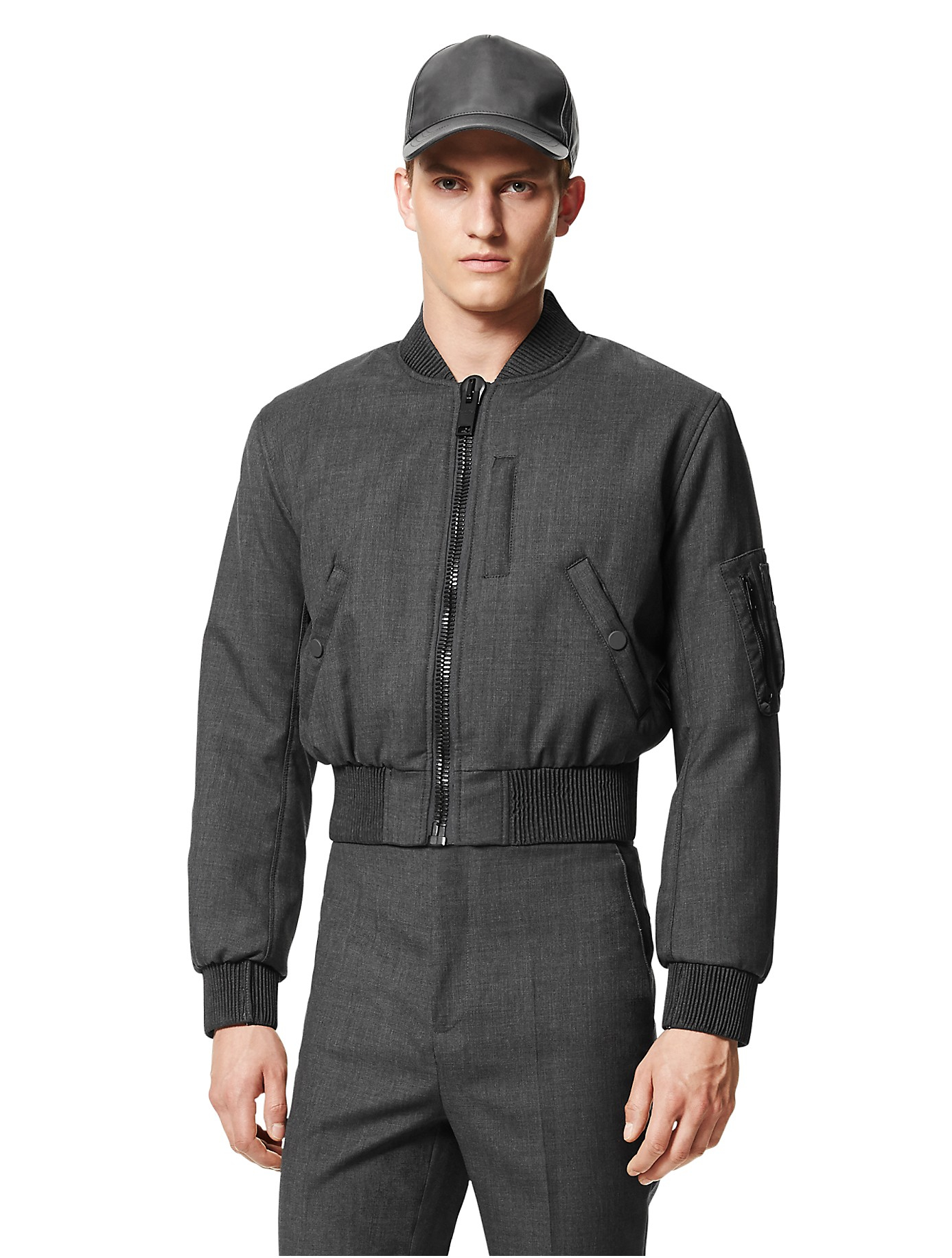 Calvin klein Collection Bonded Wool Cropped Baseball Jacket in ...