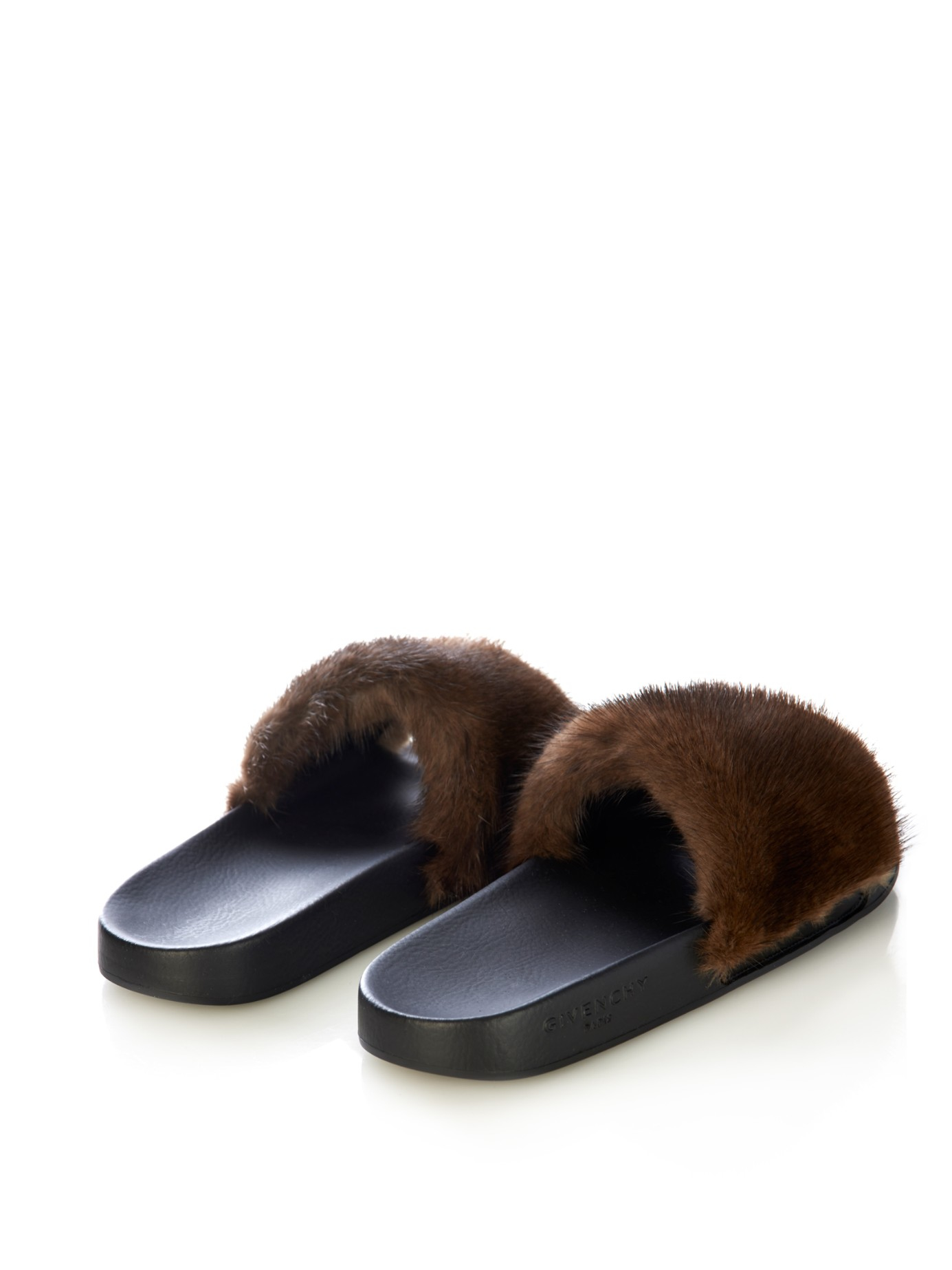 Lyst - Givenchy Fur Sandals in Black fe5322619
