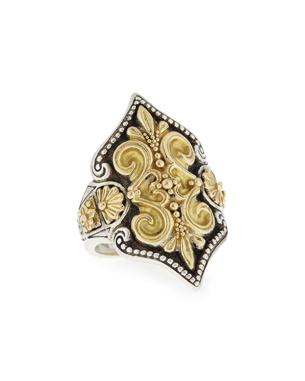 konstantino carved 18k gold fleur de lis ring in metallic