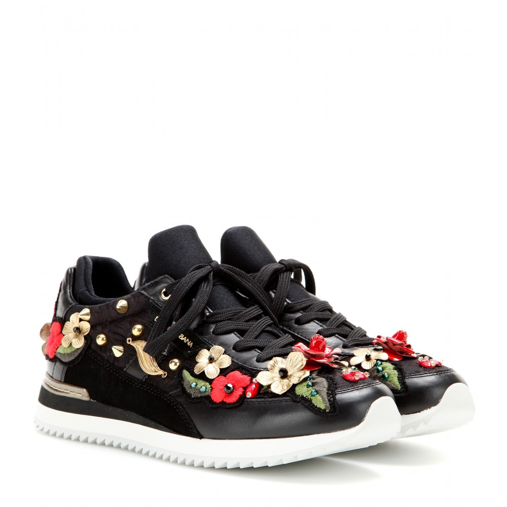 dolce gabbana embroidered leather sneakers lyst. Black Bedroom Furniture Sets. Home Design Ideas