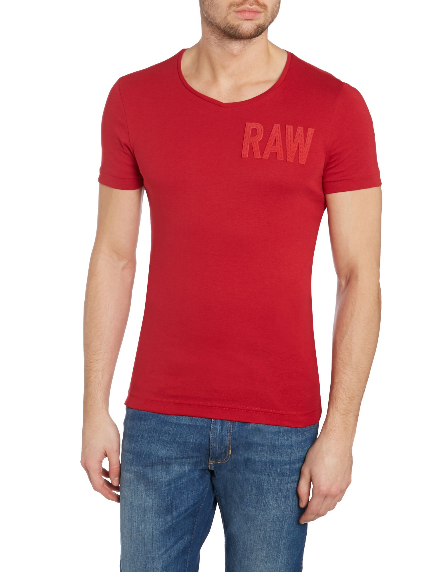 lyst g star raw logo v neck regular fit t shirt in red for men. Black Bedroom Furniture Sets. Home Design Ideas