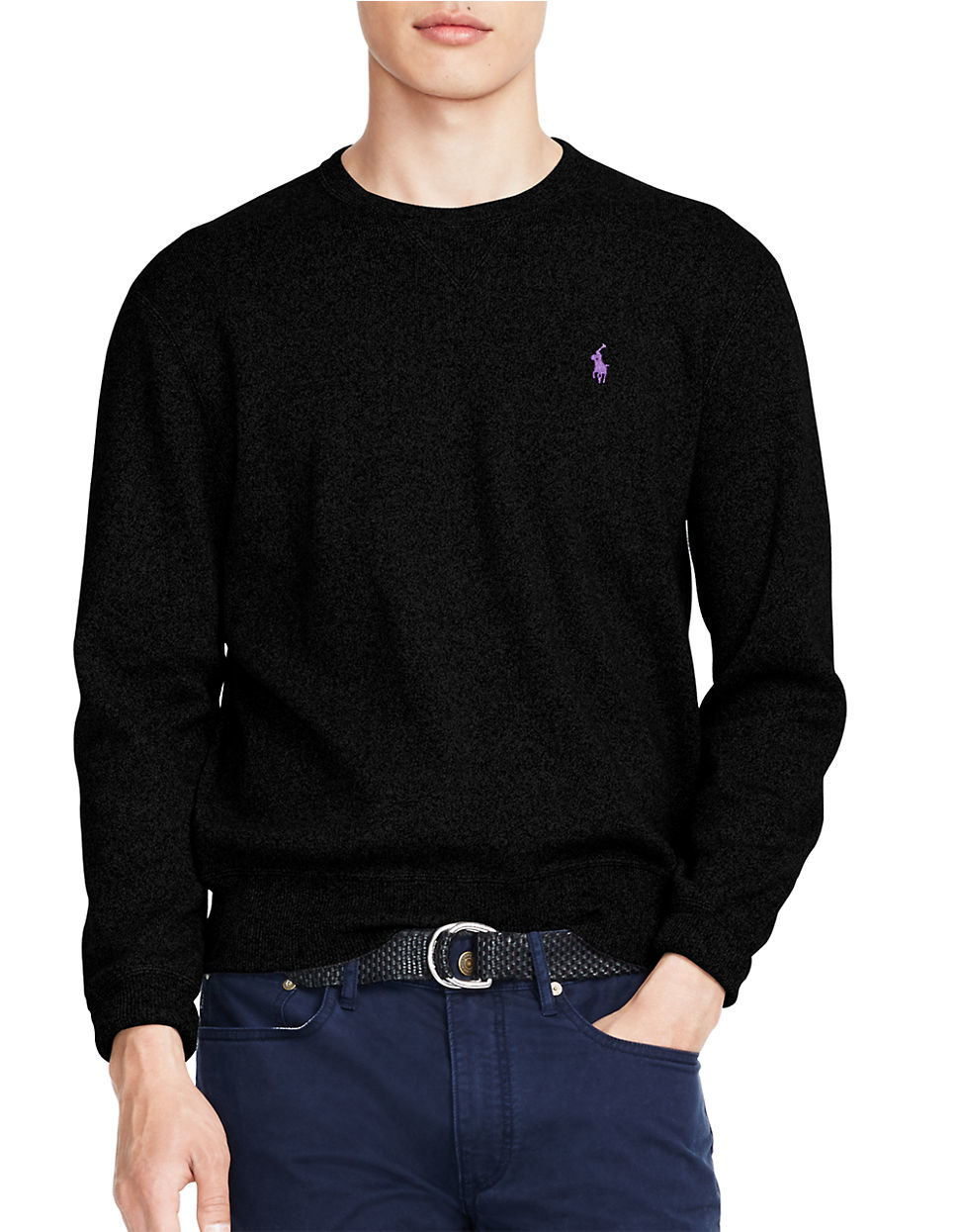 polo ralph lauren crewneck sweatshirt in black for men lyst. Black Bedroom Furniture Sets. Home Design Ideas