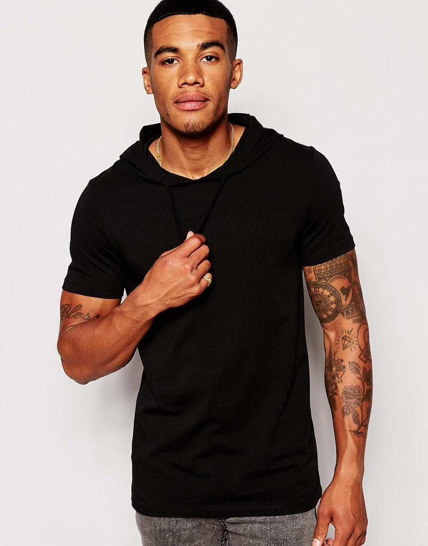 Asos muscle fit t shirt with hood and stretch in black for Fitness shirts for men