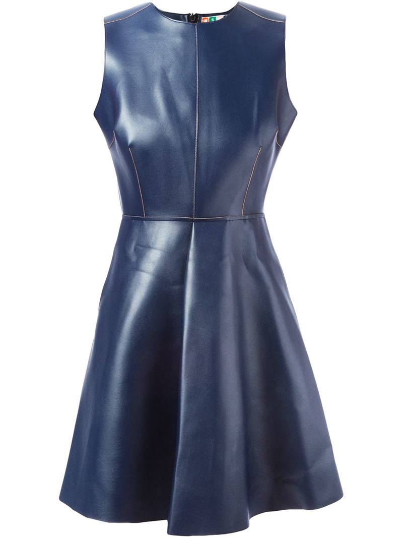 Lyst Msgm Artificial Leather Flared Dress In Blue