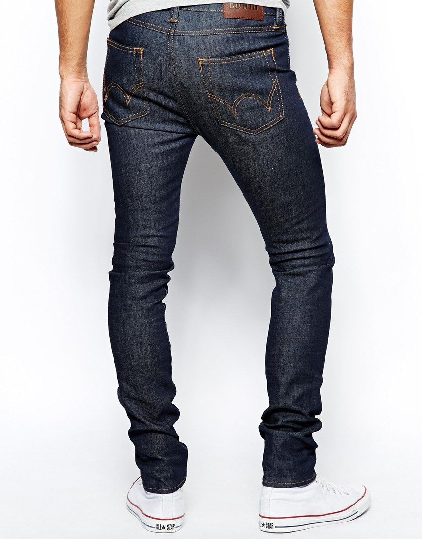 edwin jeans ed88 skinny fit stretch unwashed in blue for