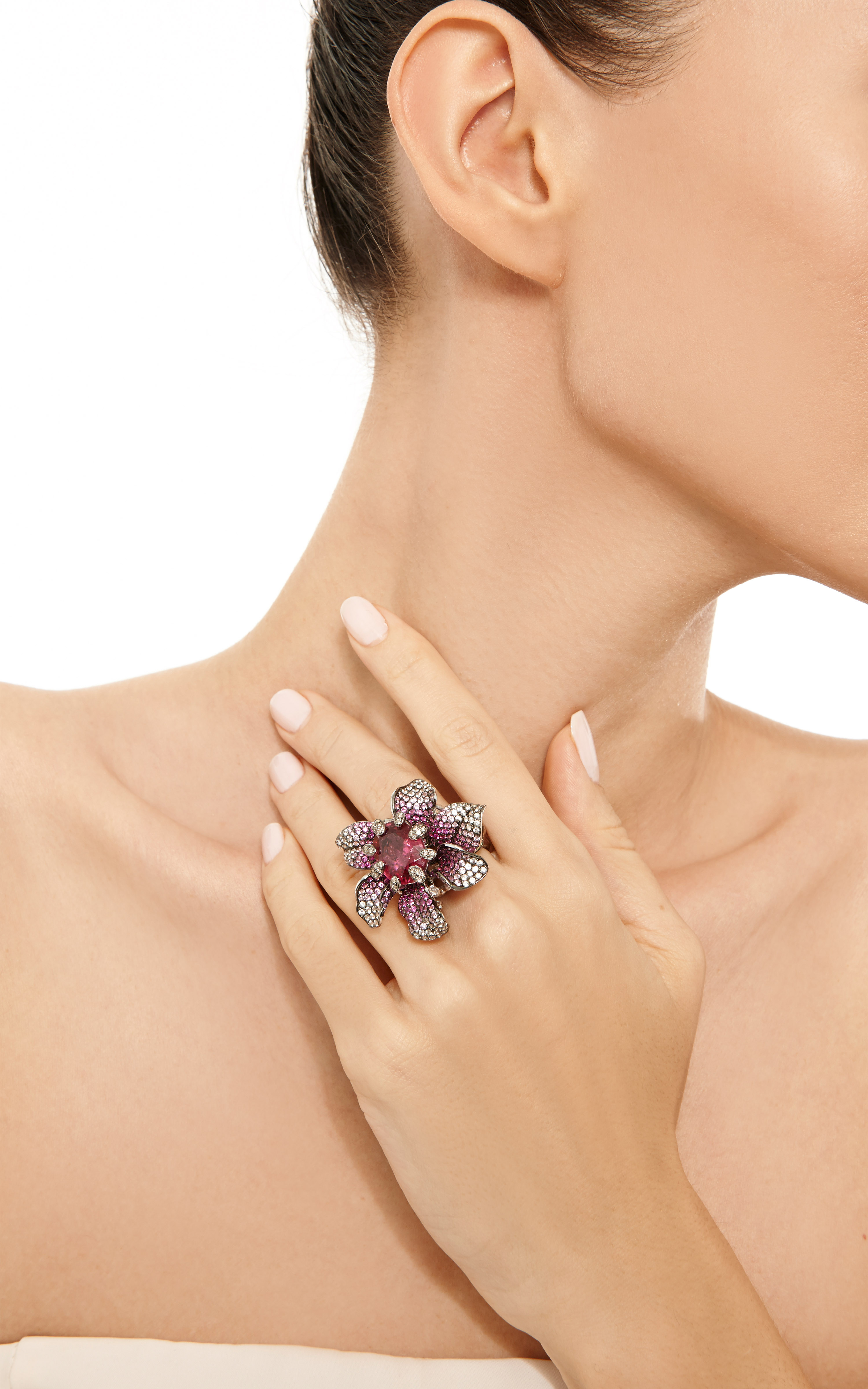 Lyst Wendy Yue Ruby And Sapphire Flower Ring In Pink