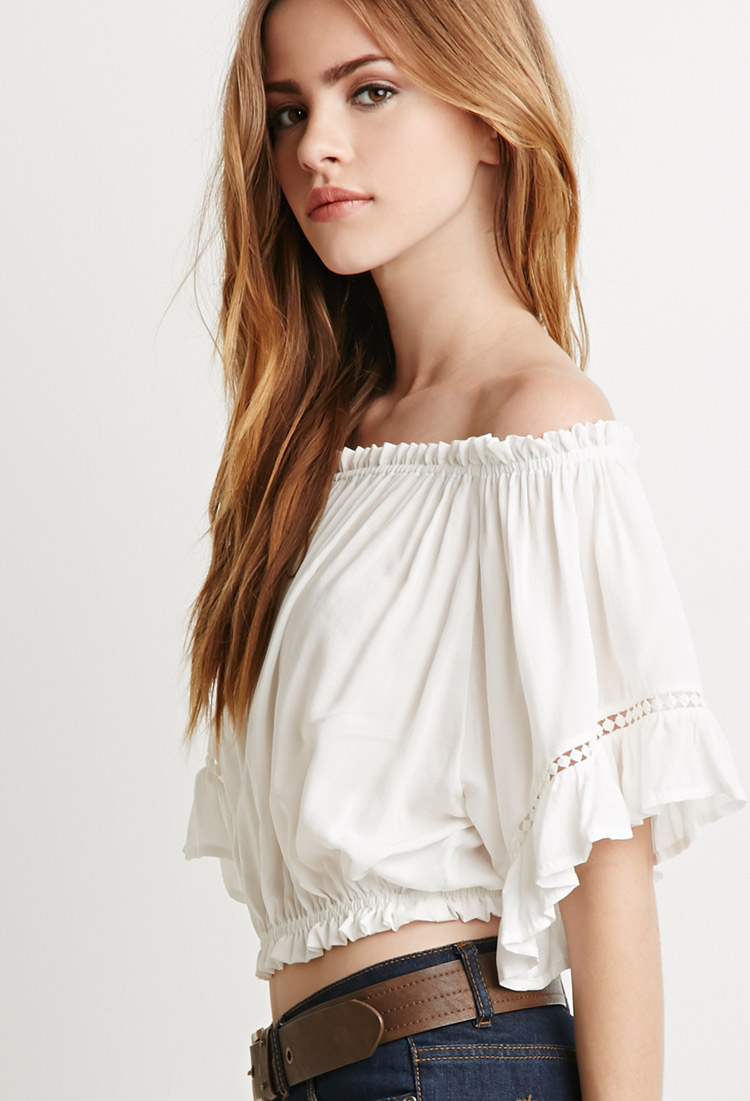 Forever 21 Off-the-shoulder Peasant Top In Natural