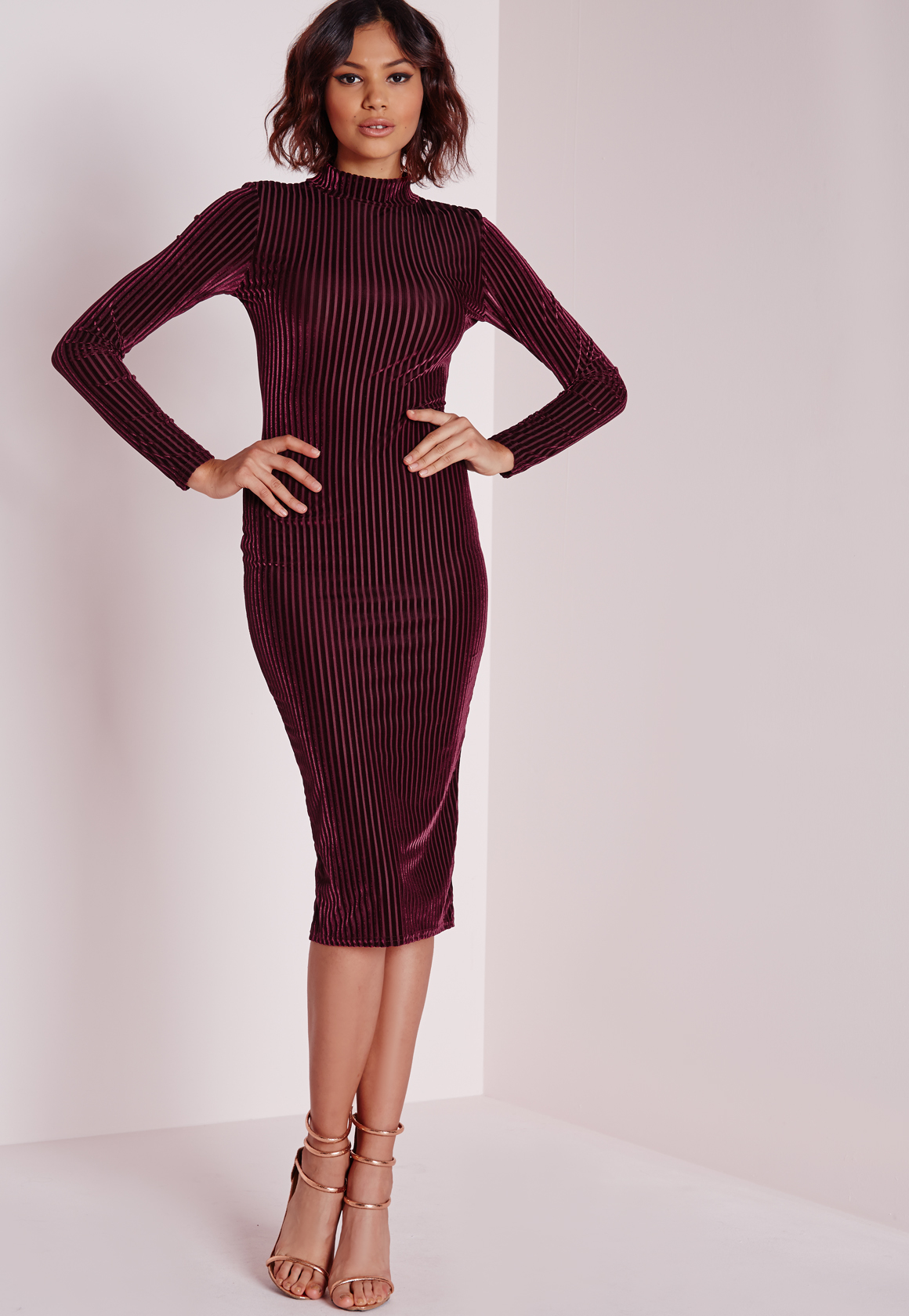 Missguided Velvet Ribbed Long Sleeve Midi Dress Burgundy