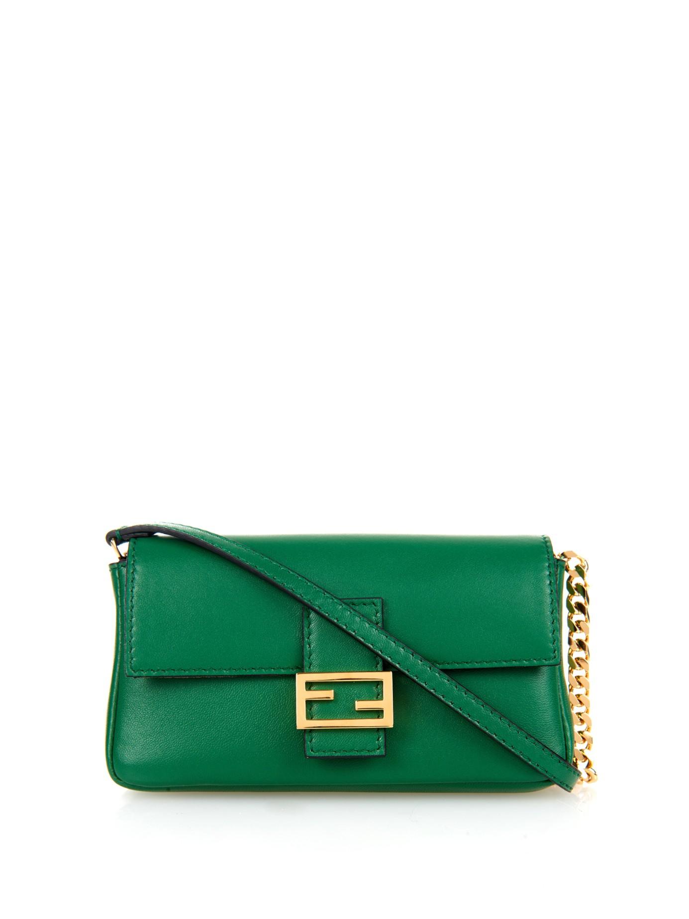 82e8e24c04 ... sale lyst fendi micro baguette leather cross body bag in green ca1bf  e22e7