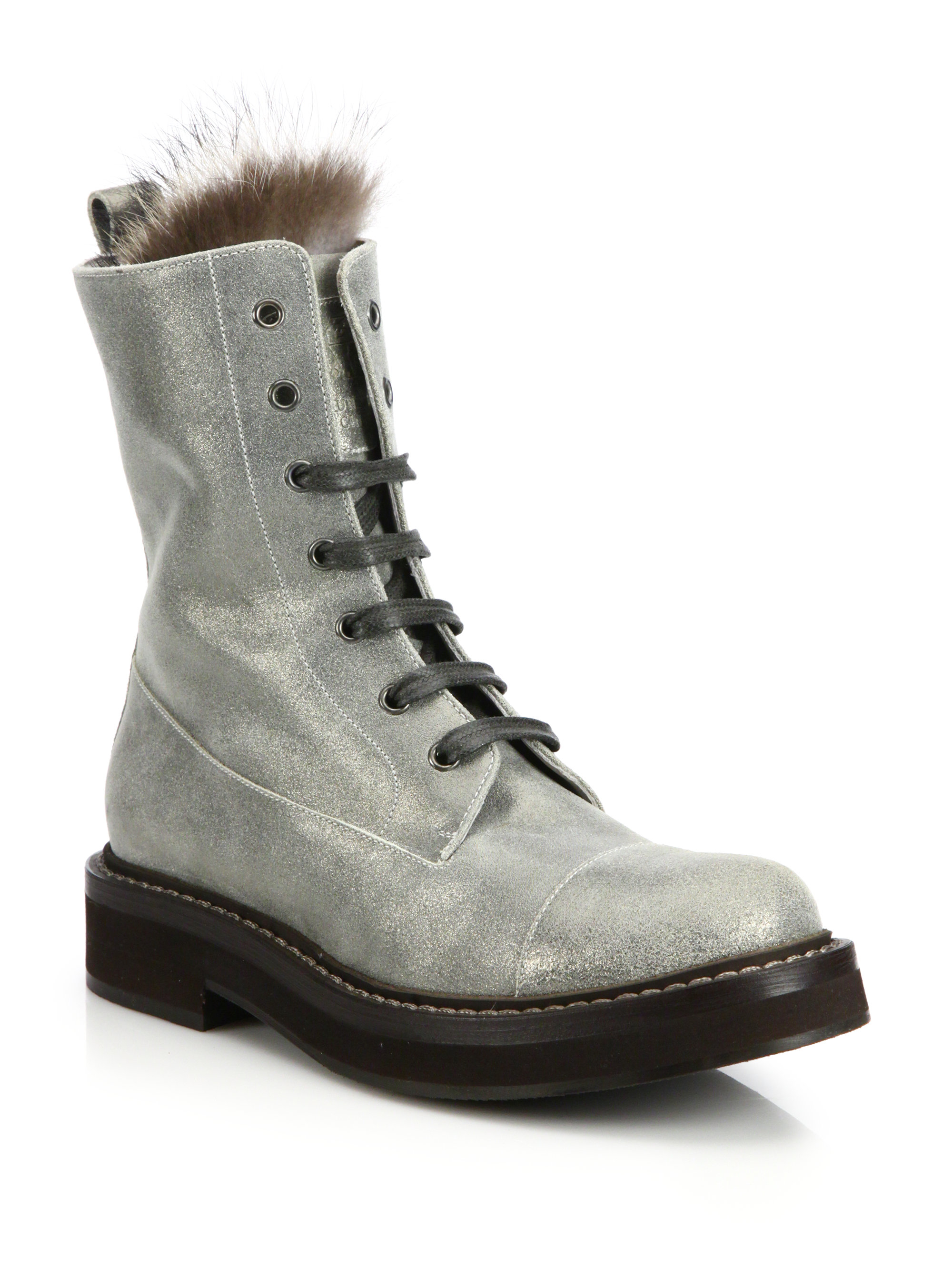 Brunello Cucinelli Metallic Fur-Trimmed Boots w/ Tags cheap sale new countdown package for sale clearance visit new buy cheap sneakernews clearance sale cok5ezos