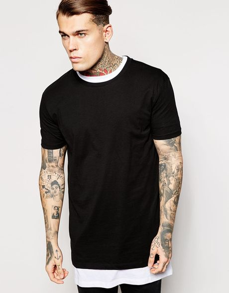 asos layering longline t shirt with relaxed fit 2 pack