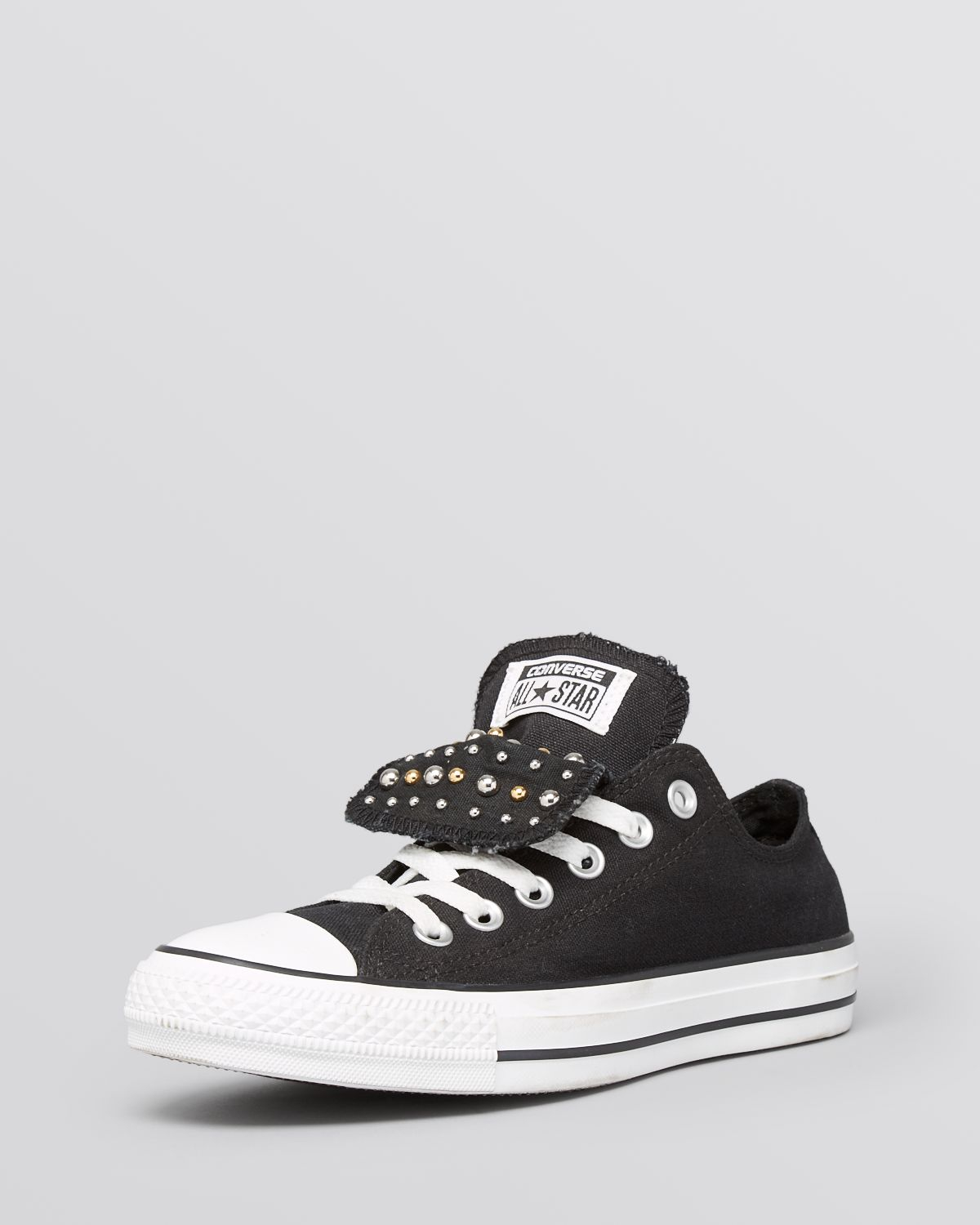 366c07b68b9084 Converse Lace Up Sneakers - Women S All Star Studded Double Tongue ...