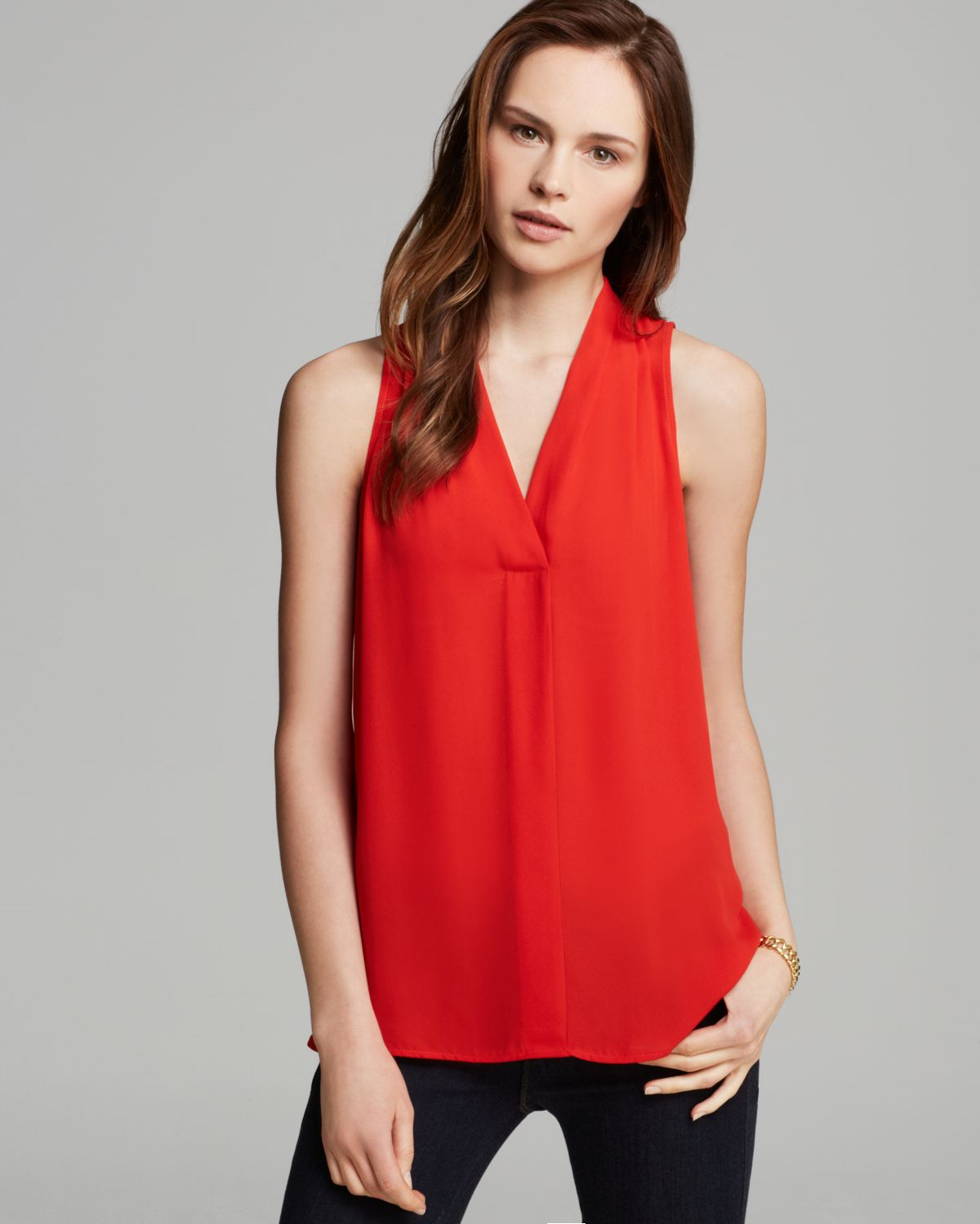 Top Women S Fashion Magazines: Vince Camuto Sleeveless V Neck Top In Red