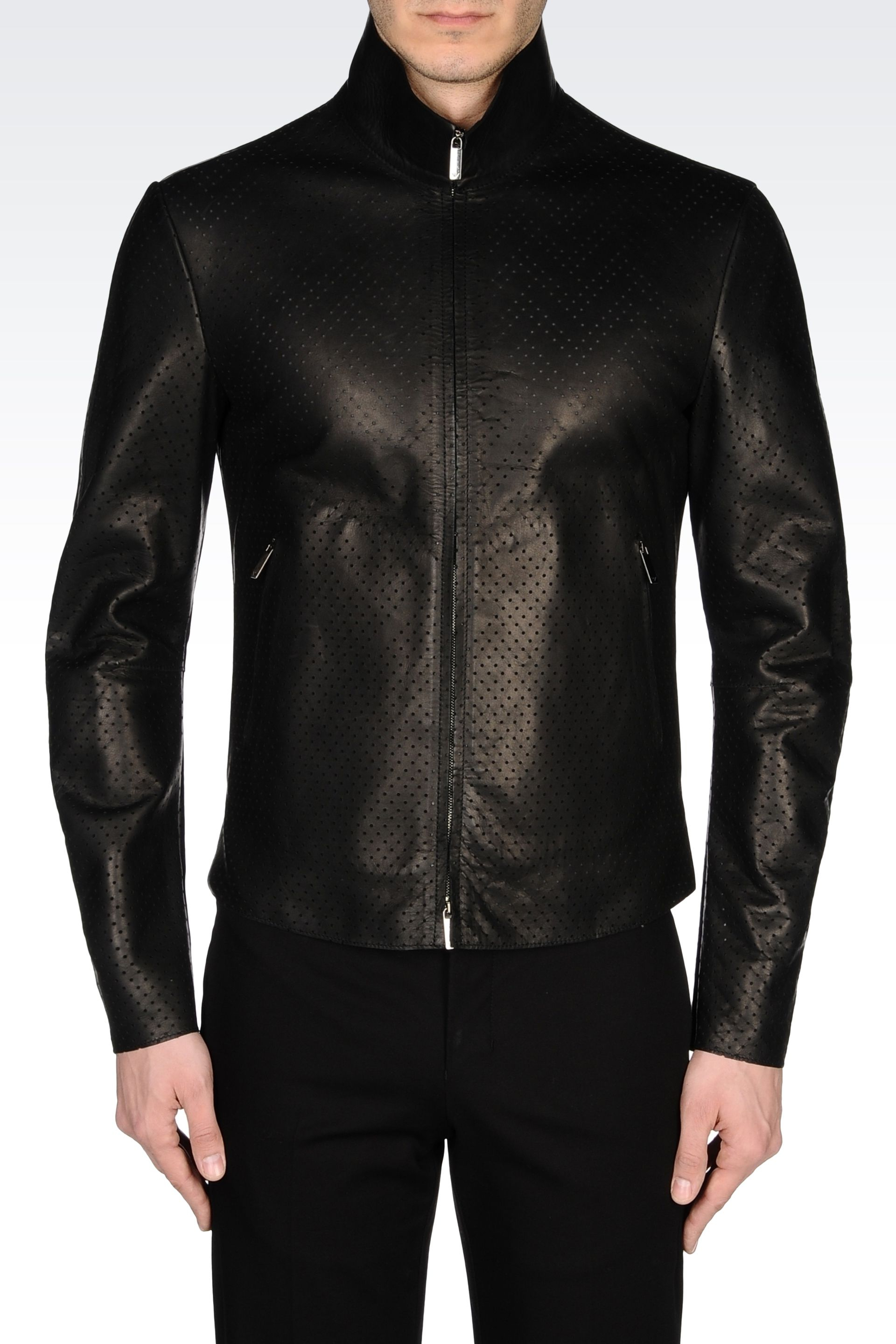 Emporio Armani Leather Jacket In Black For Men Lyst