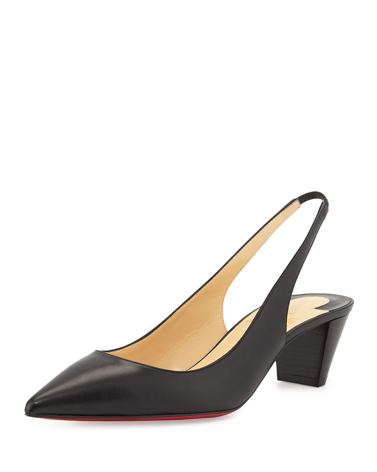 Lyst - Christian louboutin Karelli Point-Toe Low-Heel Red Sole ...