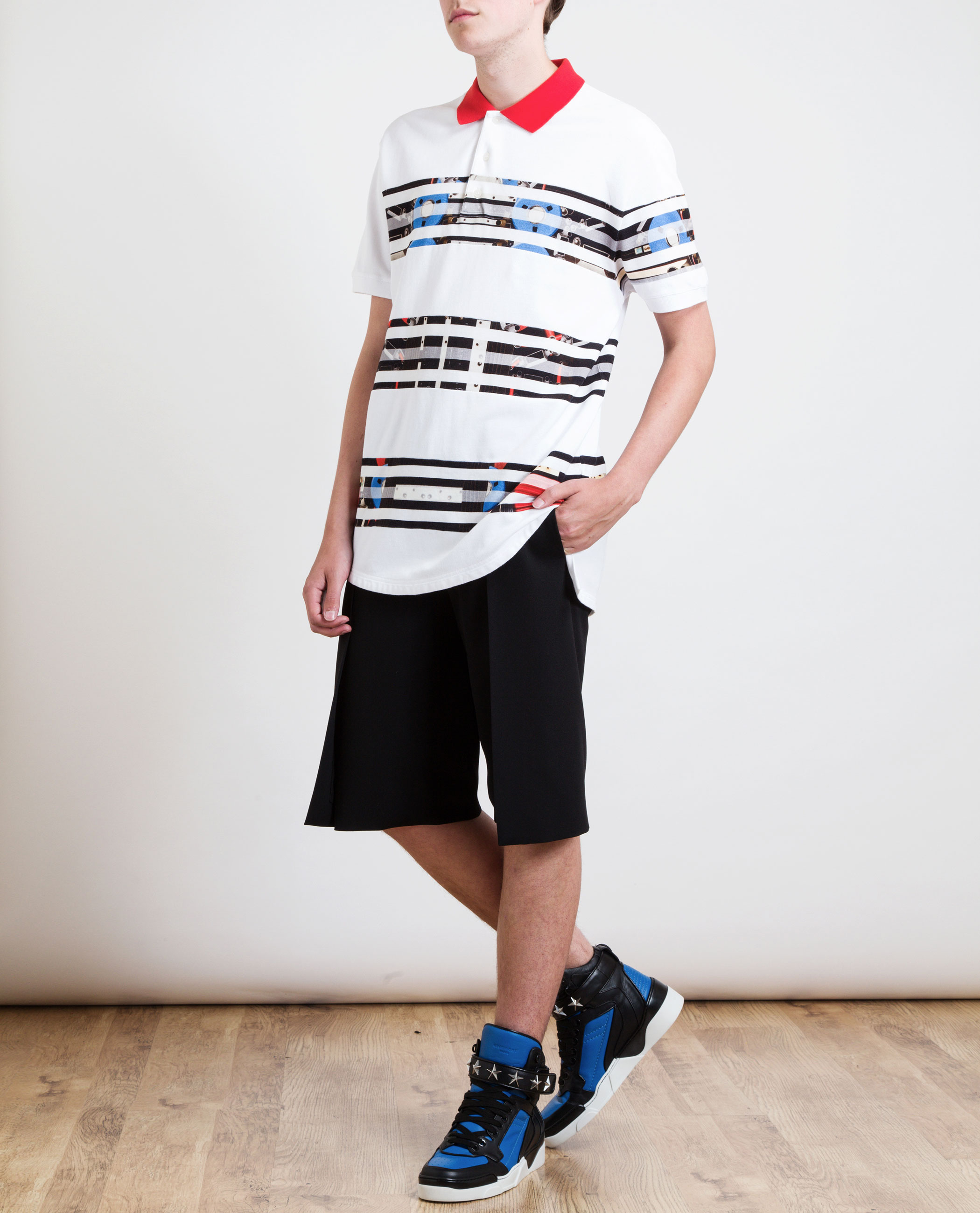715cc67d28b5 Givenchy Robot Striped Oversized Polo Shirt in White for Men - Lyst