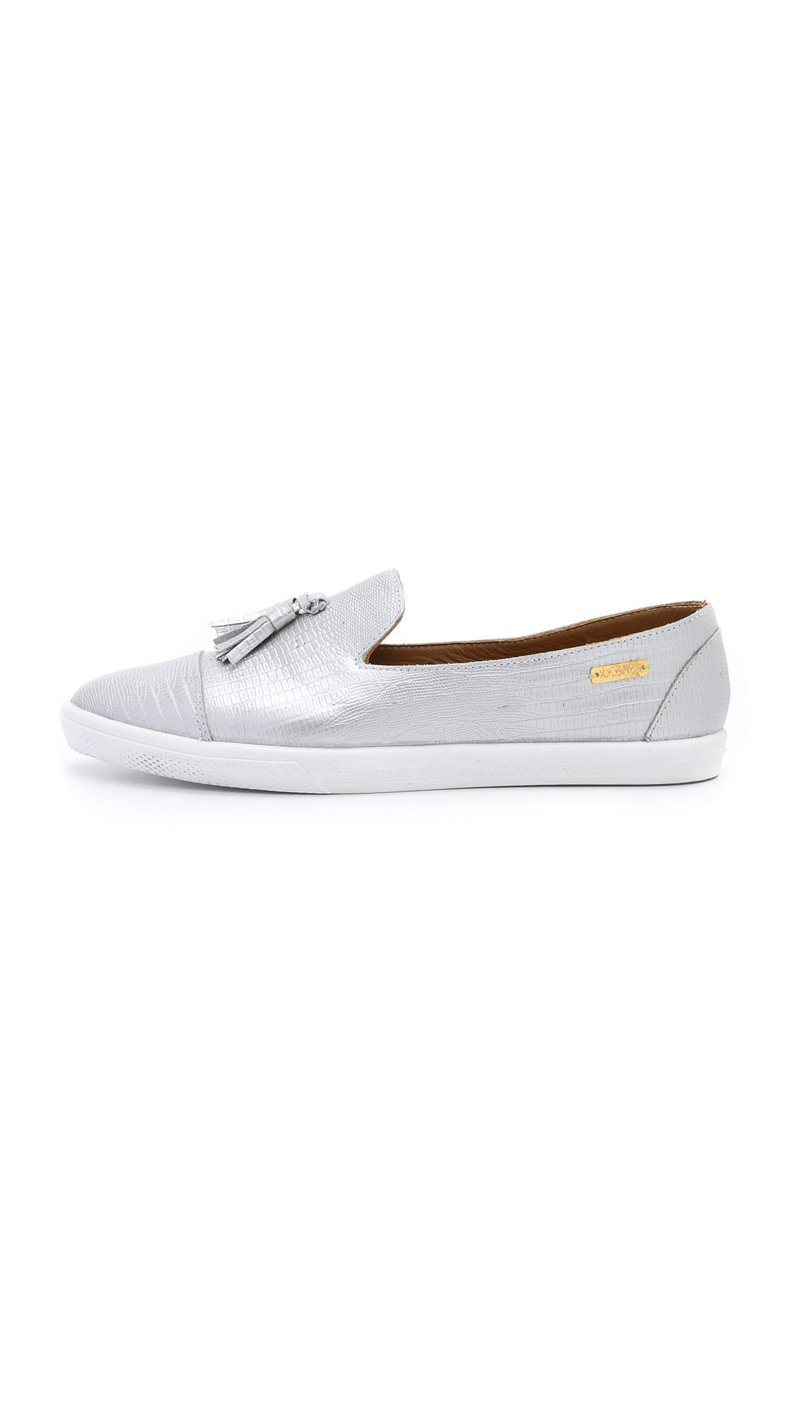kaanas silver tassel slip on sneakers gold lyst