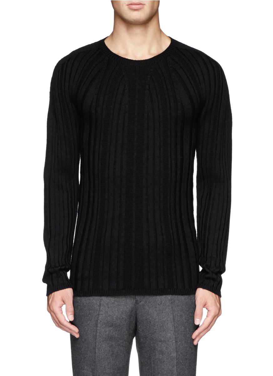Jil sander Rib Knit Wool Sweater in Black for Men | Lyst