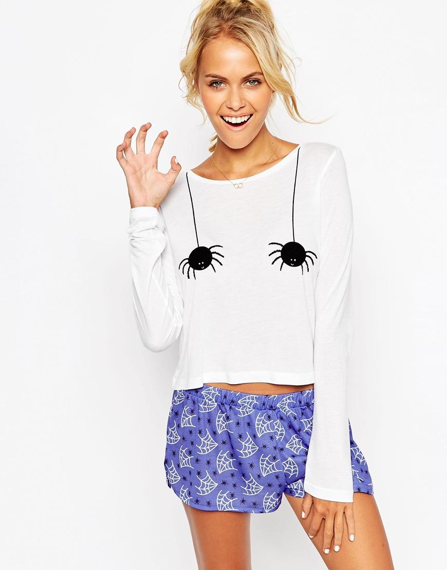 Asos Halloween Cheeky Spider Tee Amp Short Pajama Set Lyst