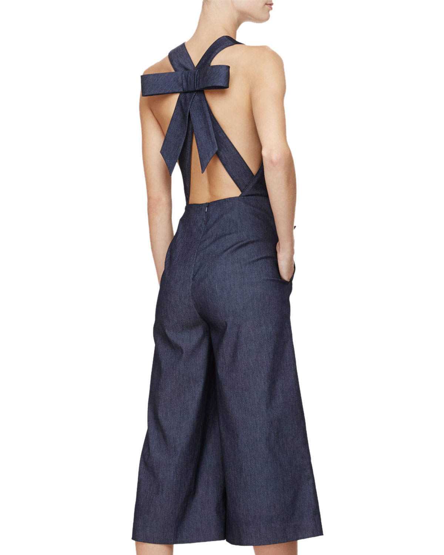 e5733f79cedc Lyst - Cushnie et Ochs Sleeveless Wide-leg Cropped Jumpsuit in Blue