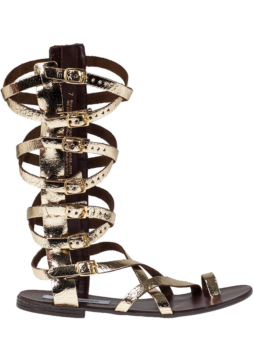 Steve Madden Rivval Leather Gladiator Sandals In Metallic