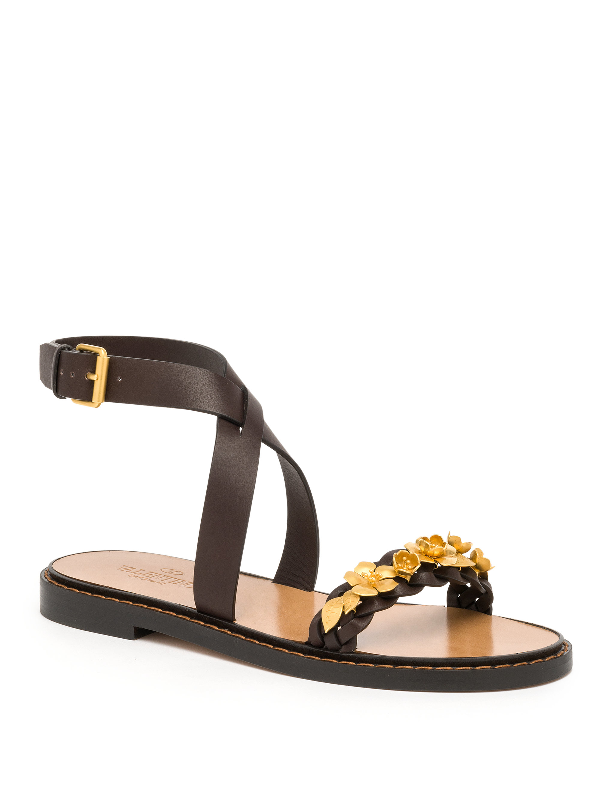 pay with visa cheap price new cheap price Valentino Leather Floral-Adorned Sandals tcafdy