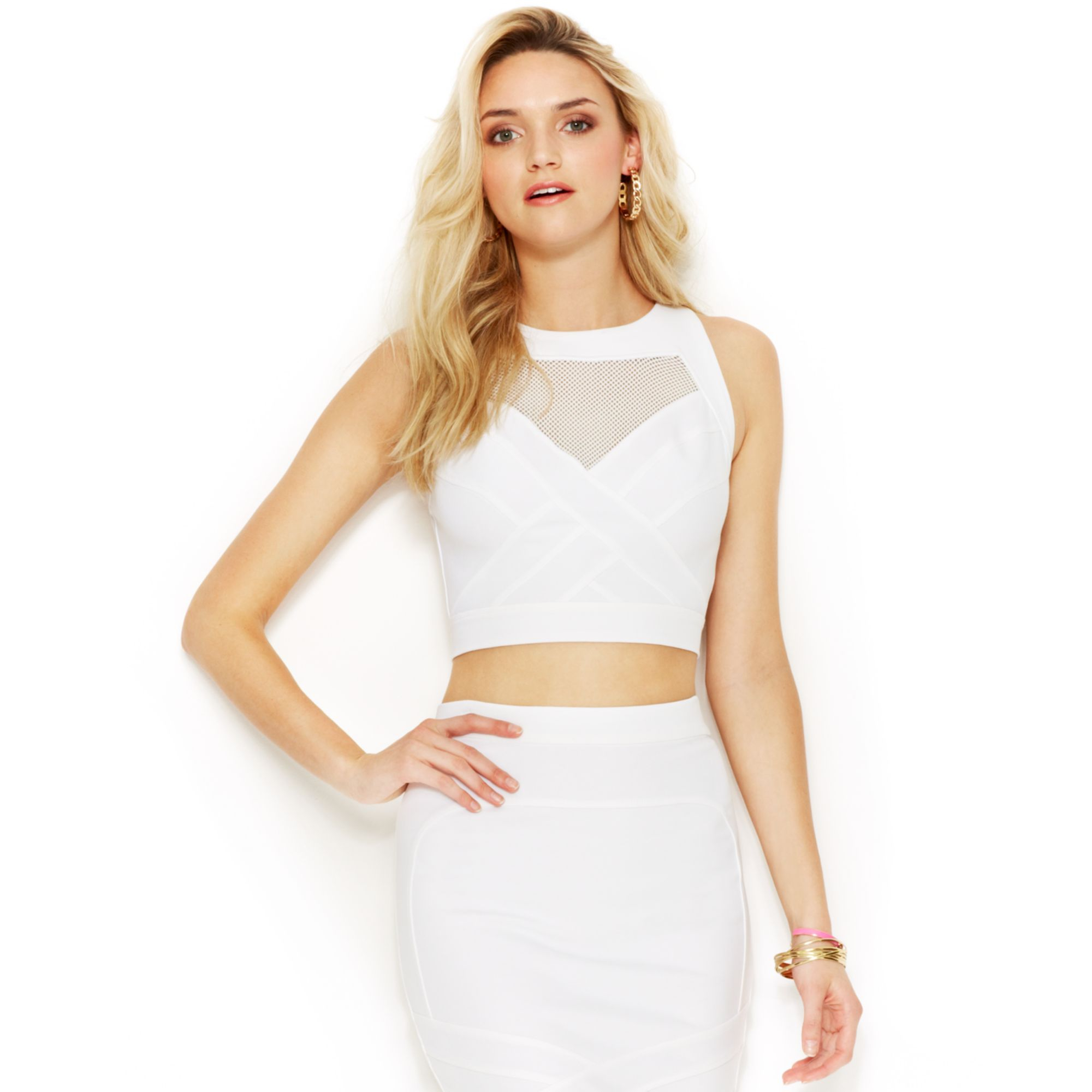 Guess Mesh Crop Top In White