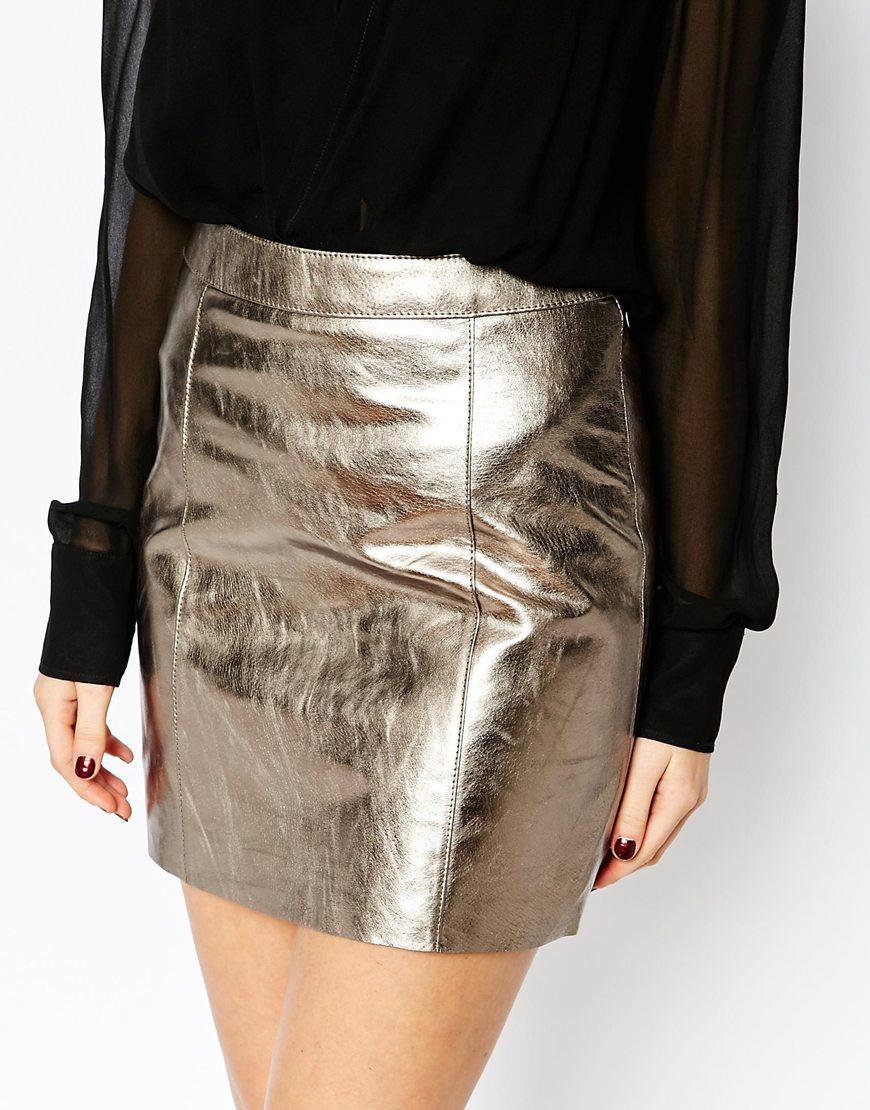 Warehouse Premium Metallic Leather Skirt in Metallic | Lyst