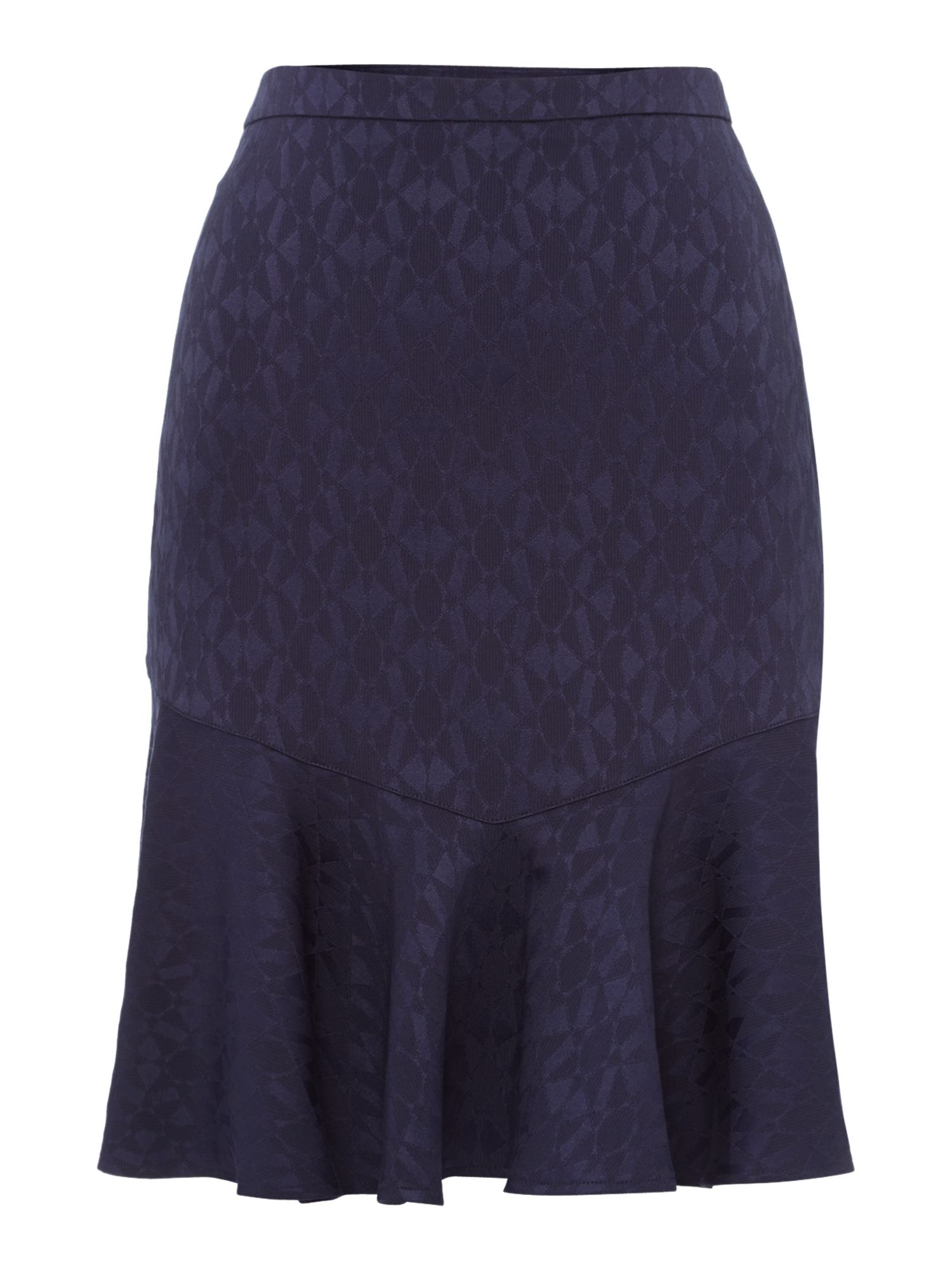 biba peplum hem texture skirt in blue navy lyst