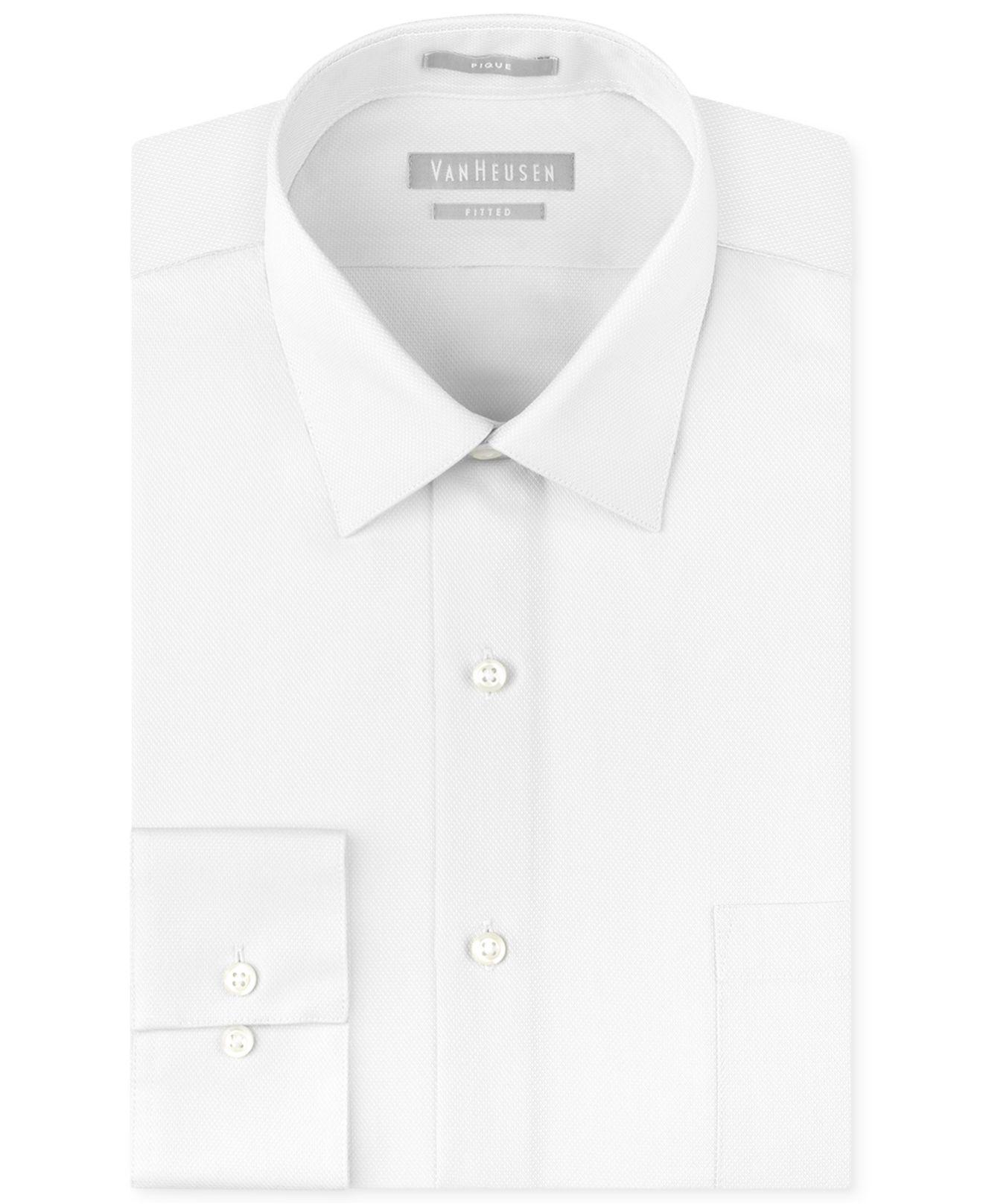 Van heusen men 39 s fitted non iron pique dress shirt in for Van heusen iron free shirts