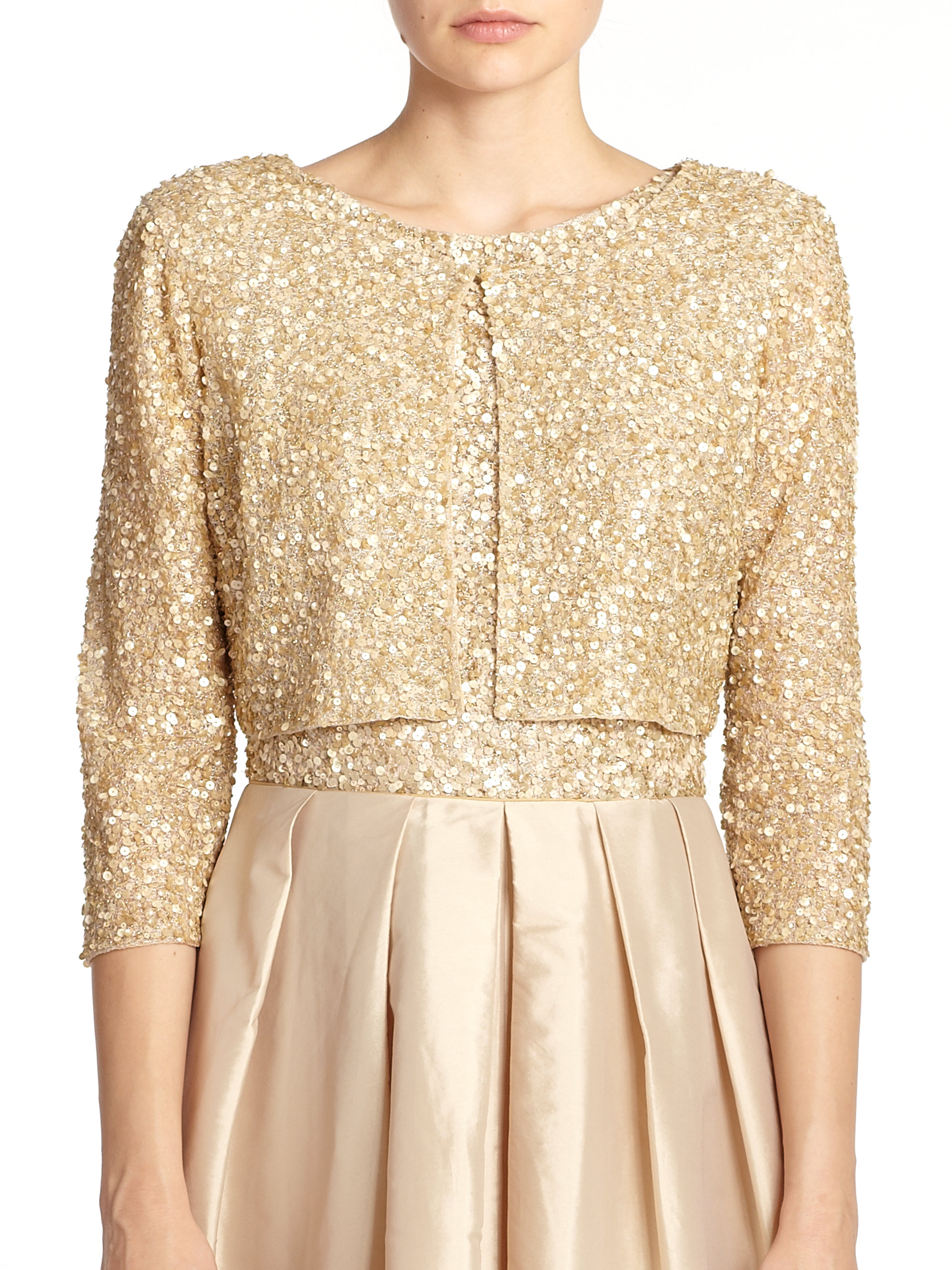 Aidan mattox Sequined Cropped Cardigan in Metallic | Lyst