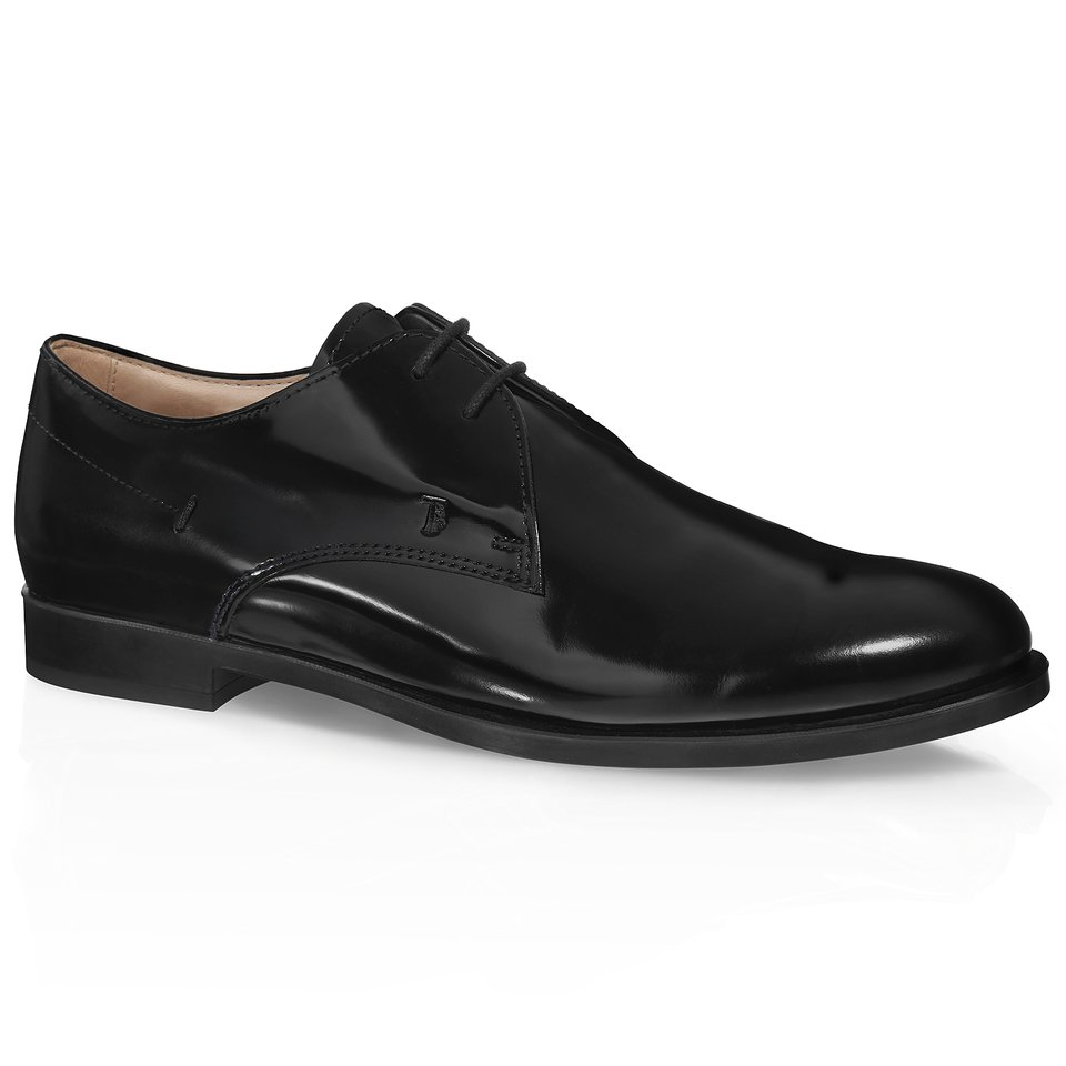 tod s leather lace up shoes in black lyst