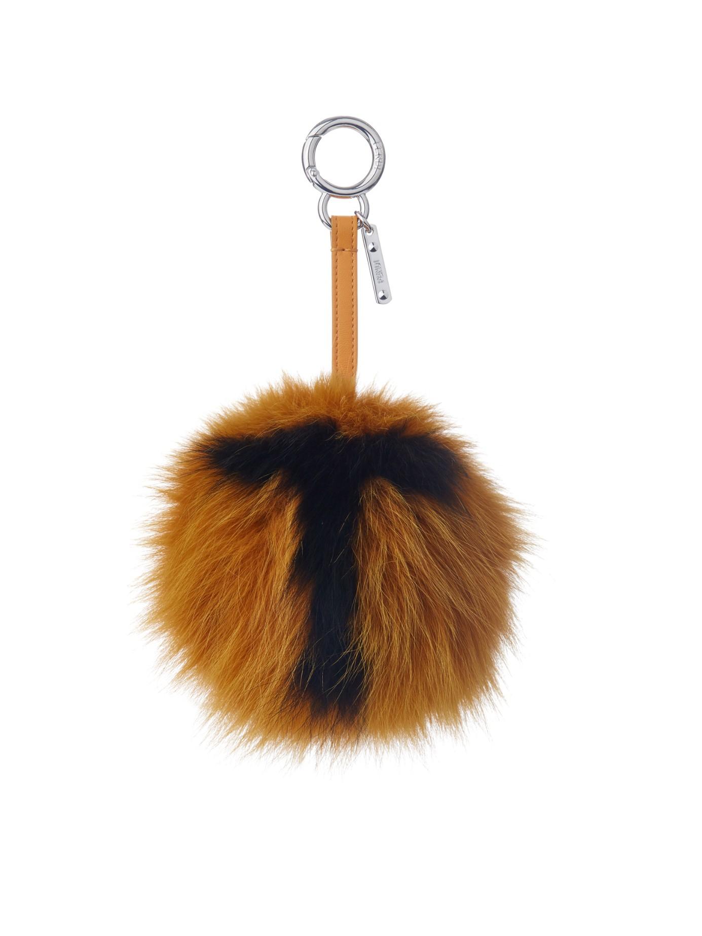 5b8d4d2af0 ... low cost lyst fendi t letter pompom fox fur bag charm in orange 9ae66  0d5cc