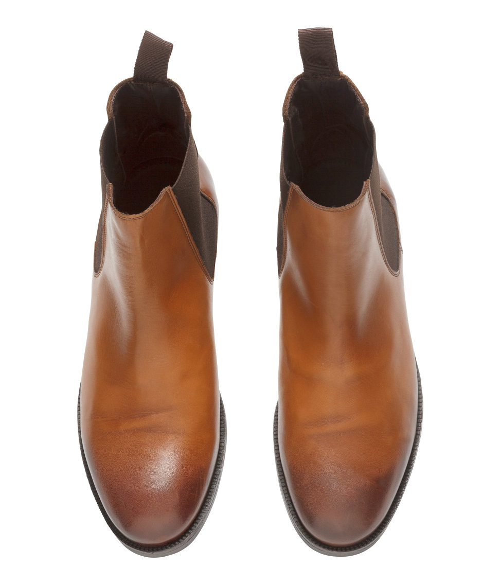 H&m Leather Chelsea Boots in Brown for Men | Lyst