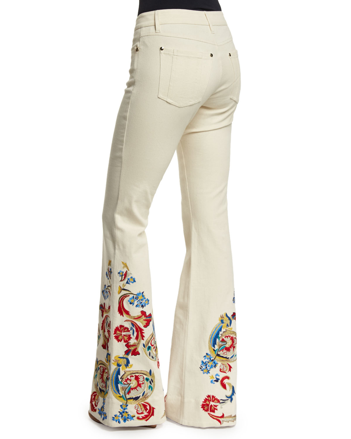 Alice  Olivia Ryley Lowrise Embroidered Flare Jeans  Lyst